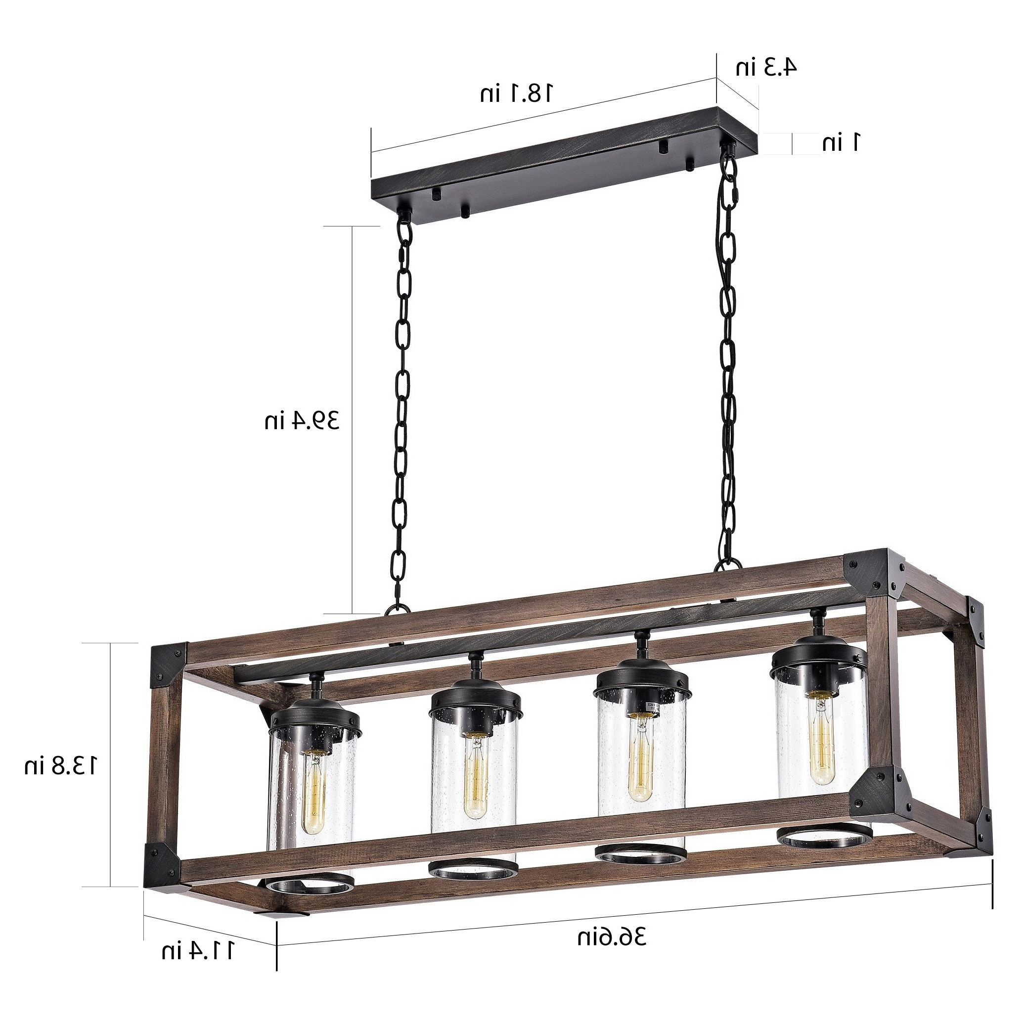 Daniela 4 Light Antique Black Metal And Wood Bubble Glass Chandelier Intended For Contemporary Three Tier Glass Buffets With Black Metal Frame (View 2 of 20)