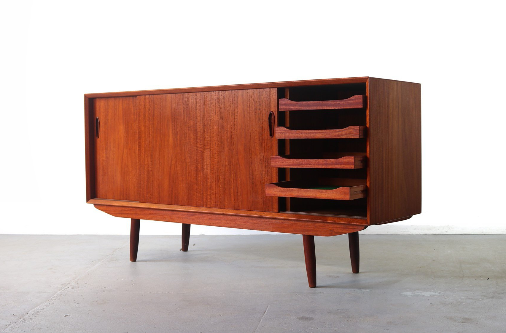 Danish Modern Buffet / Credenza In Teak, Denmark With Modern Red Buffets (View 8 of 20)
