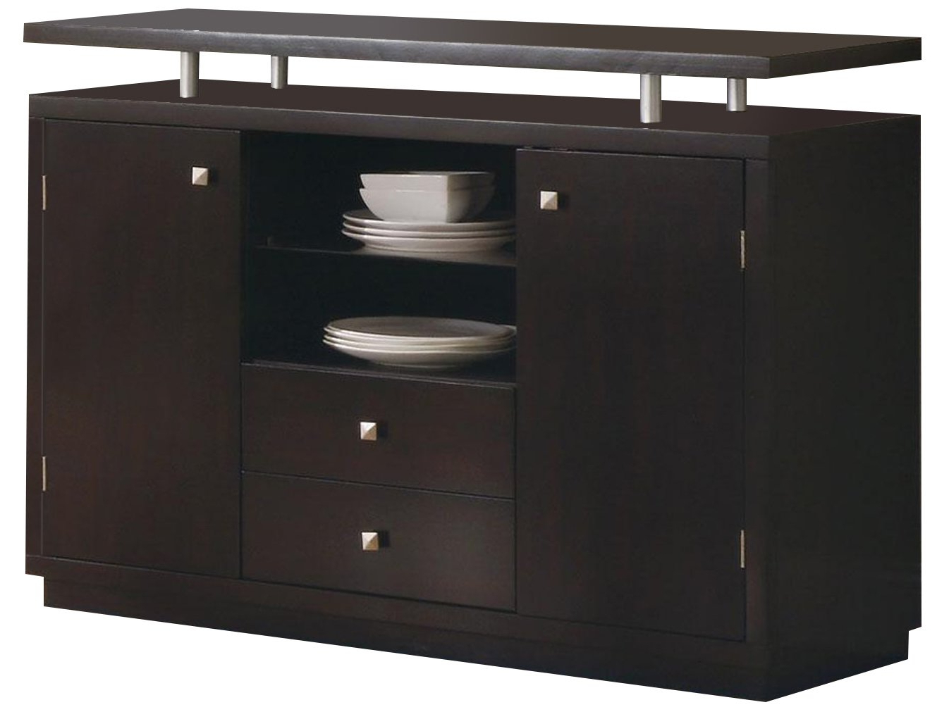 Dark Cappuccino Finish Dining Server Buffet With Floating Throughout Cappuccino Finished Buffets (View 4 of 20)