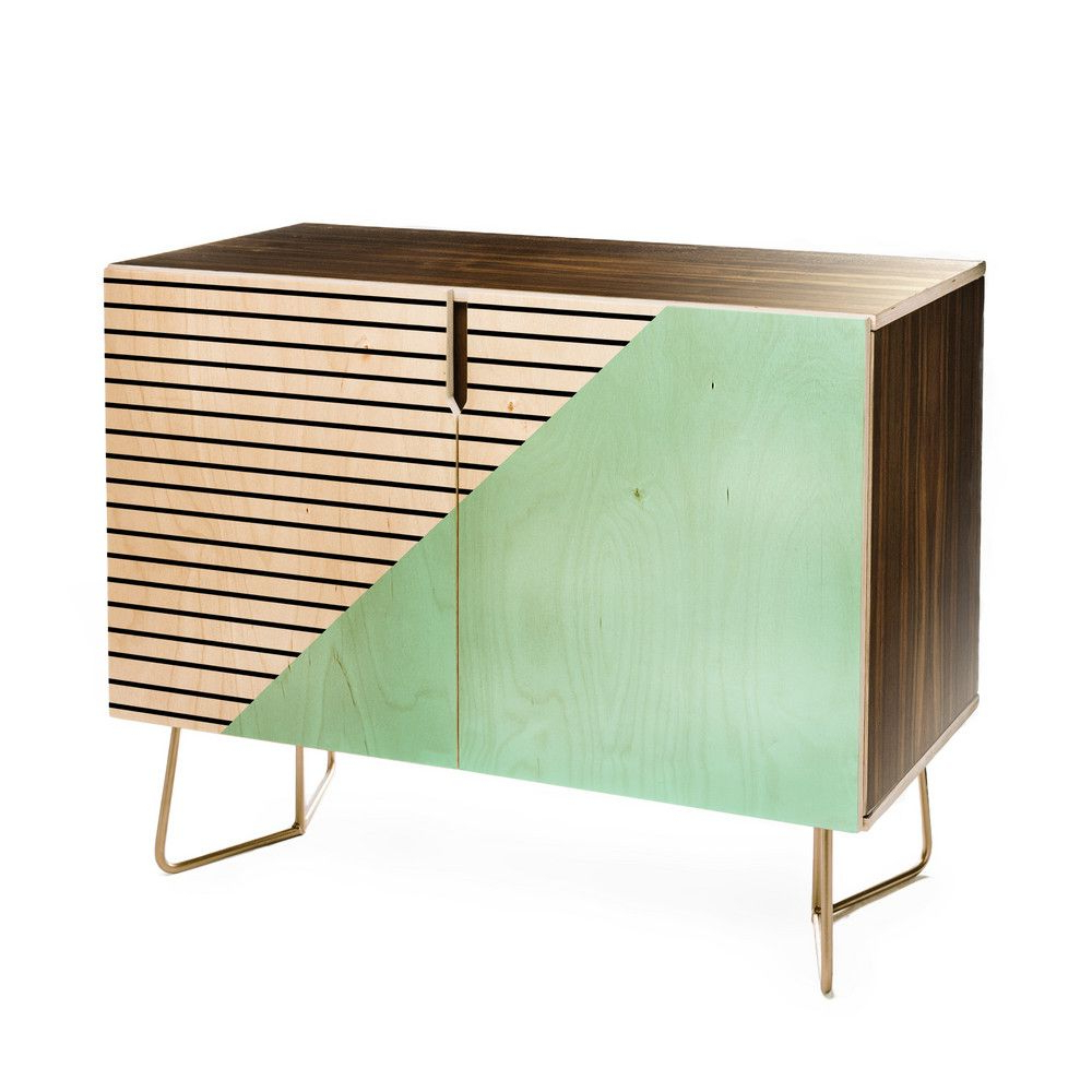 Deny Designs Allyson Johnson Mint And Stripes Credenza Inside Strokes And Waves Credenzas (View 2 of 20)