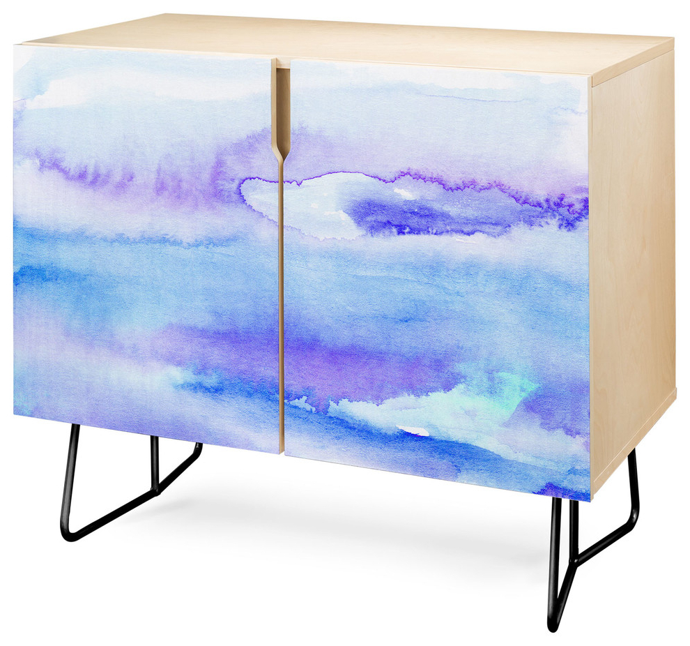 Deny Designs Blue And Purple Abstract Credenza, Birch, Black Steel Legs Pertaining To Bluetrellis Credenzas (View 5 of 20)
