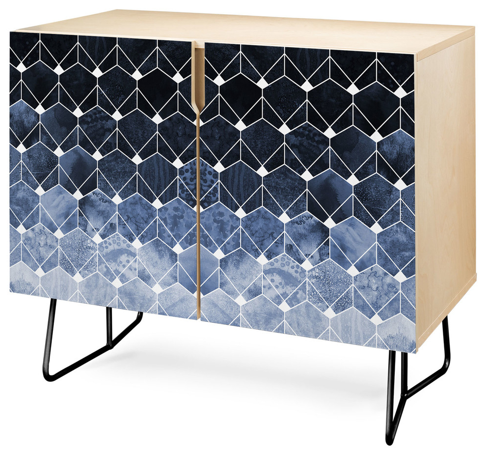 Deny Designs Blue Hexagons And Diamonds Credenza, Birch, Black Steel Legs In Bluetrellis Credenzas (View 8 of 20)