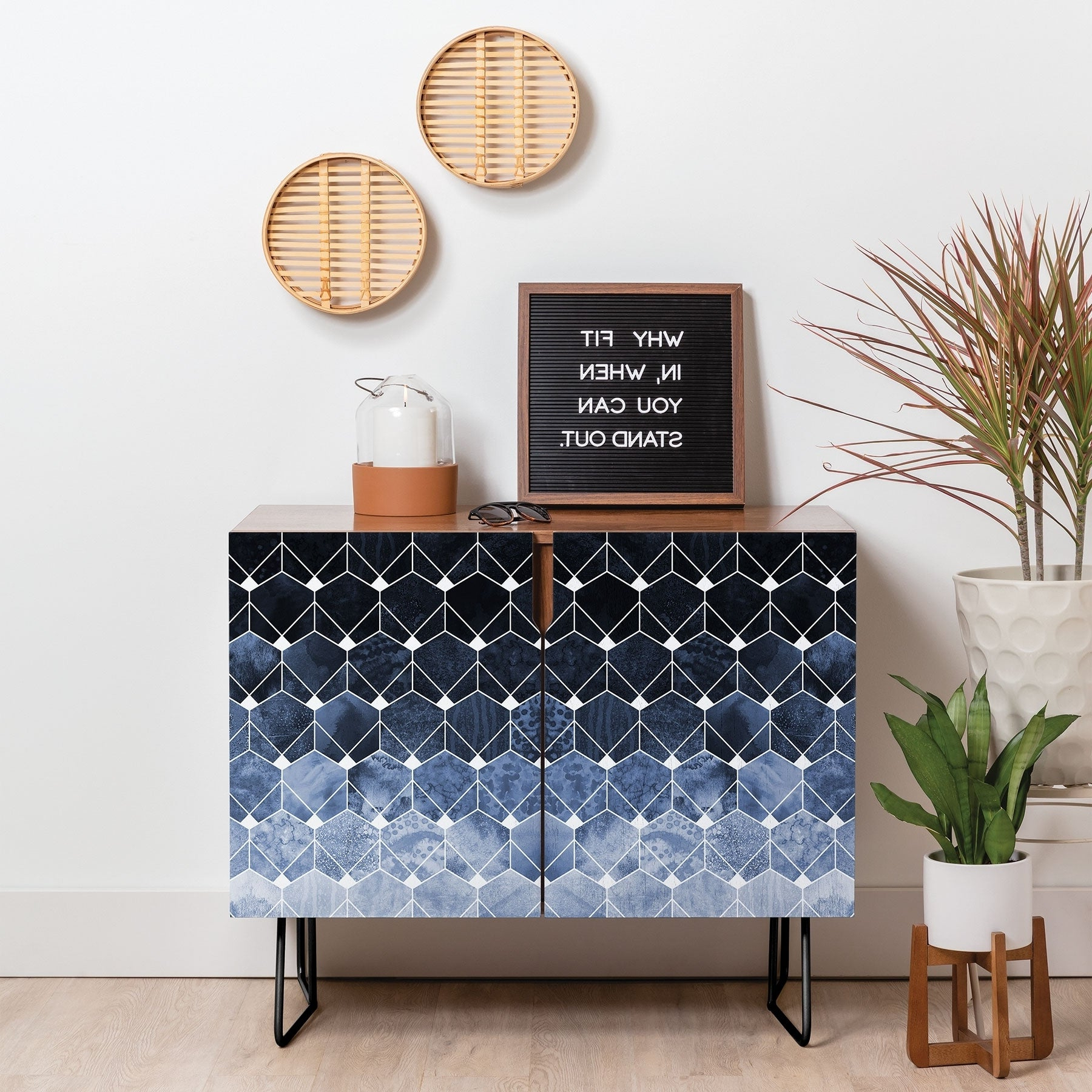 Deny Designs Blue Hexagons And Diamonds Credenza (Birch Or Walnut, 2 Leg  Options) Intended For Line Geo Credenzas (View 1 of 20)