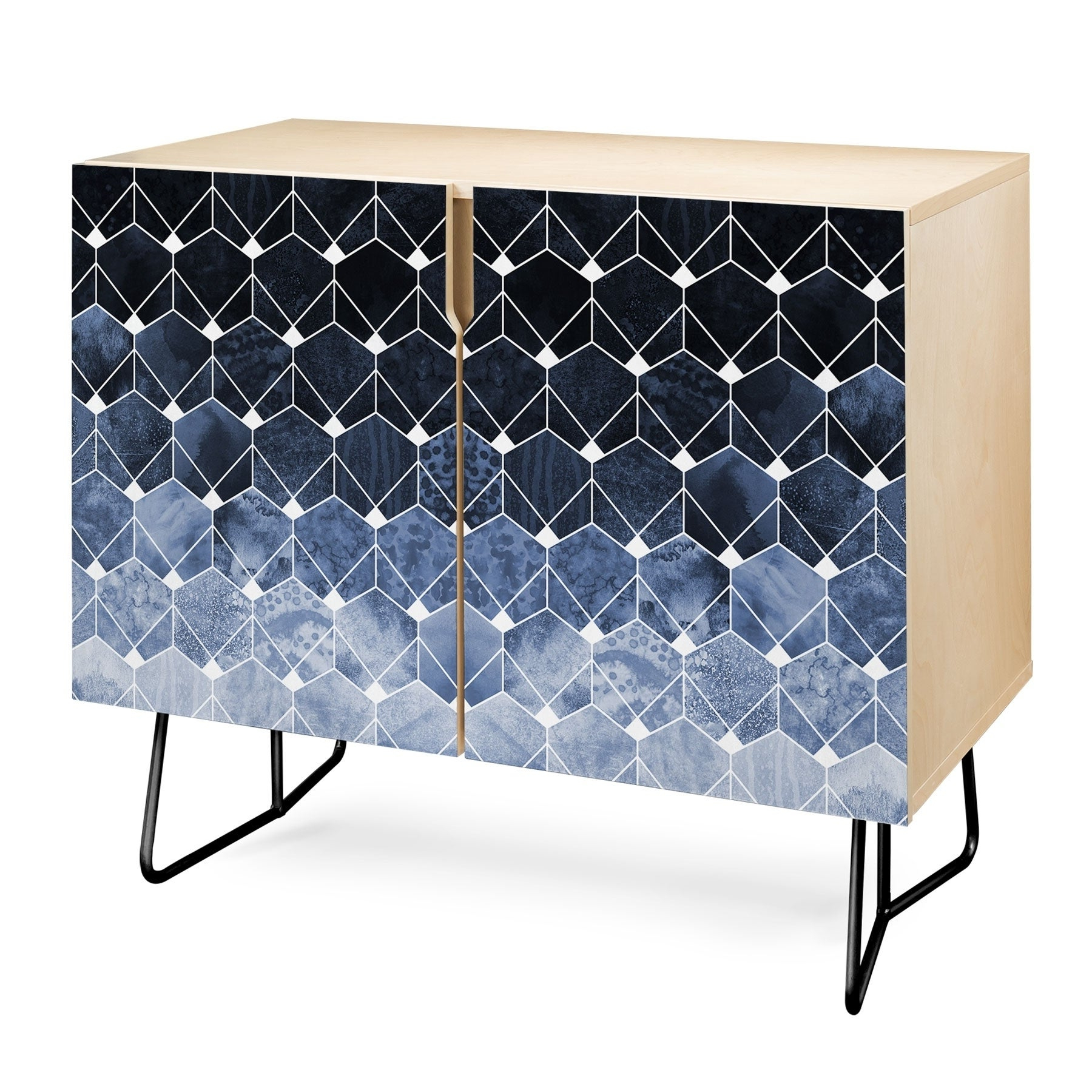 Deny Designs Blue Hexagons And Diamonds Credenza (Birch Or Walnut, 2 Leg  Options) Regarding Line Geo Credenzas (View 2 of 20)