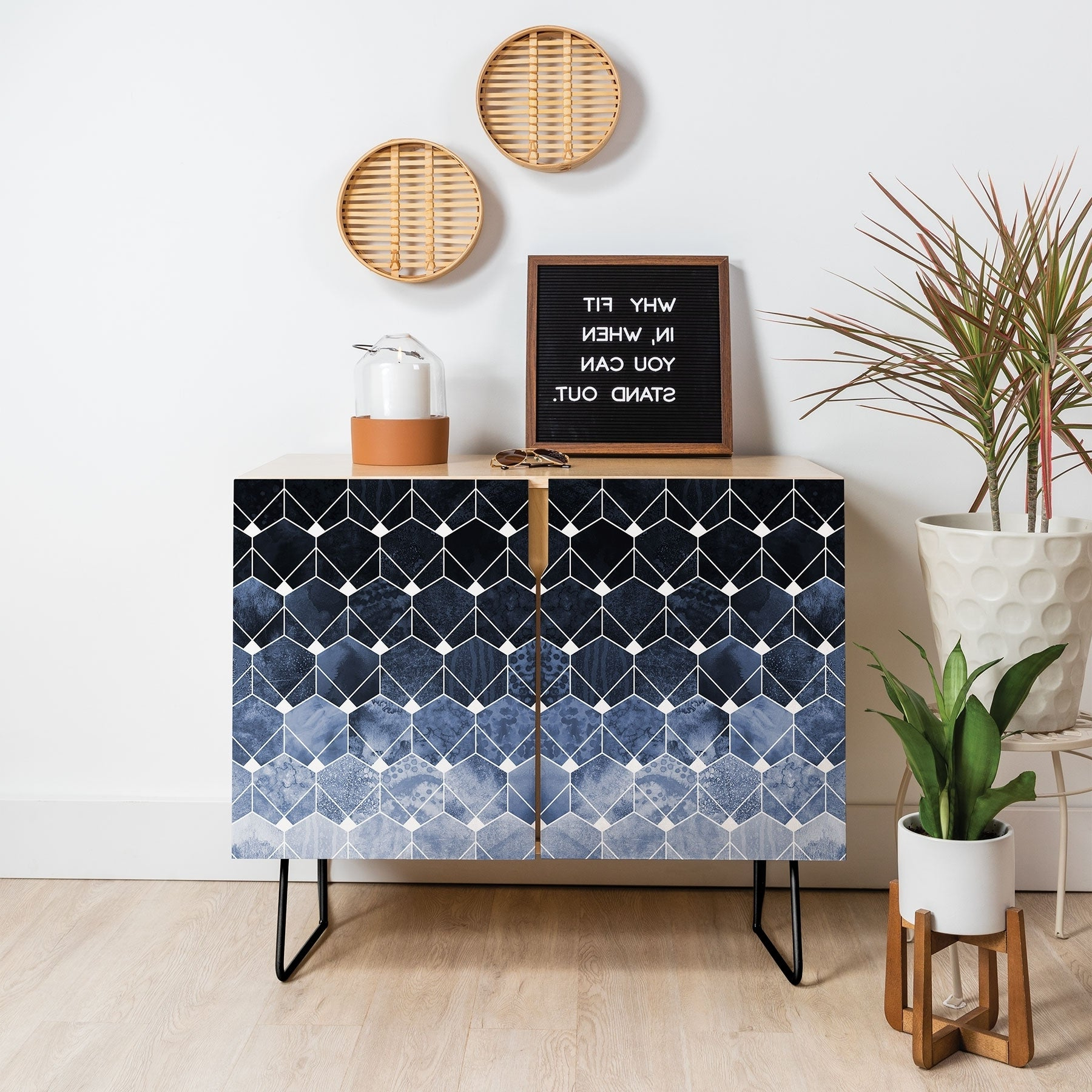 Deny Designs Blue Hexagons And Diamonds Credenza (Birch Or Walnut, 2 Leg  Options) With Regard To Exagonal Geometry Credenzas (View 12 of 20)