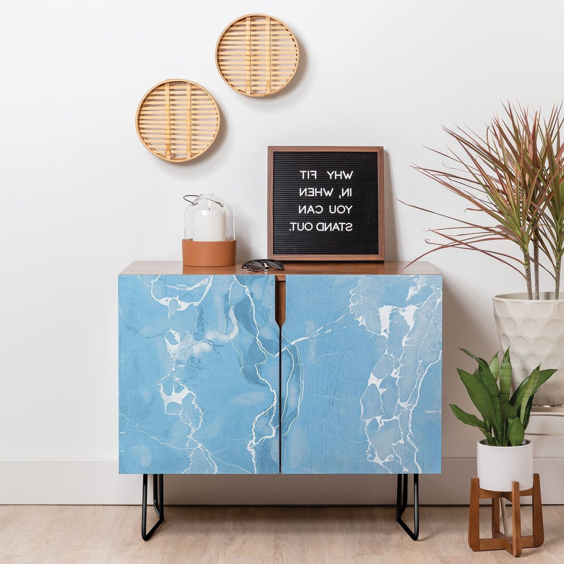 Deny Designs Blue Sky Marble Credenza (Birch Or Walnut, 2 Leg Options) Intended For Ocean Marble Credenzas (View 4 of 20)