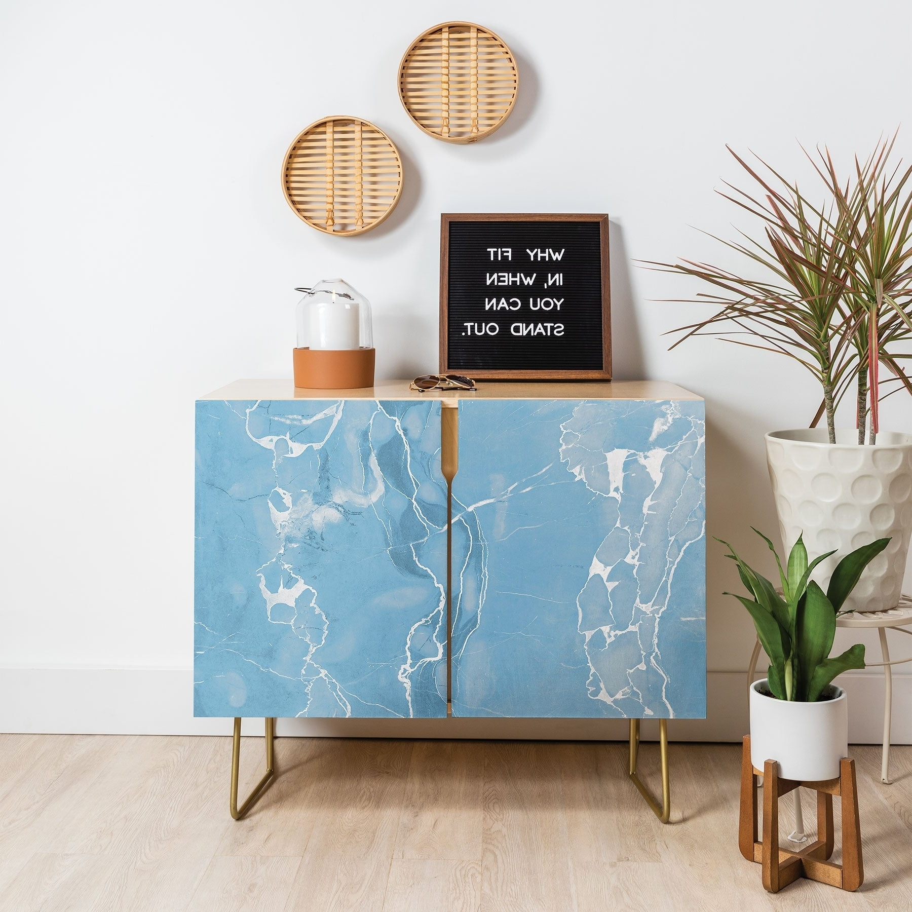 Deny Designs Blue Sky Marble Credenza (Birch Or Walnut, 2 Leg Options) With Ocean Marble Credenzas (View 5 of 20)