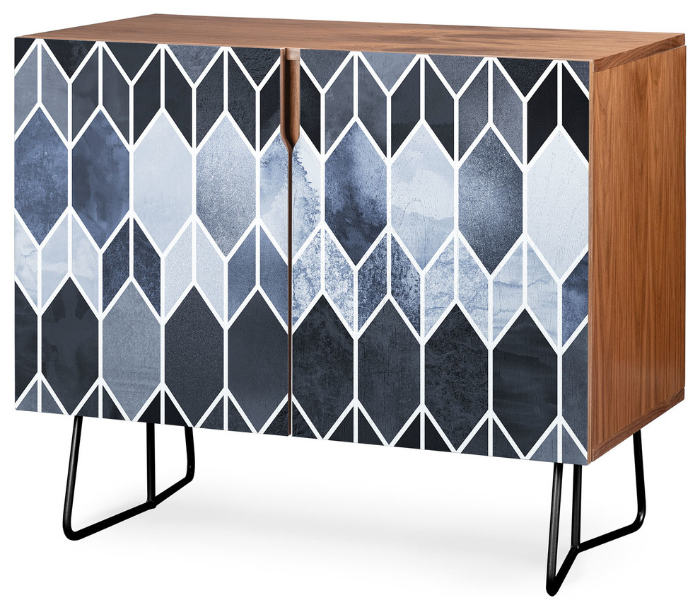Deny Designs Blue Stained Glass Credenza, Walnut, Black Steel Legs In Multi Stripe Credenzas (View 13 of 20)