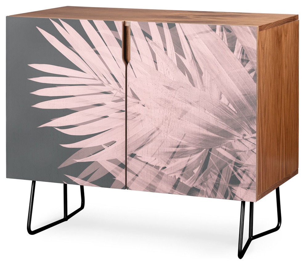 Deny Designs Blush Palm Leaves Credenza, Walnut, Black Steel Legs Pertaining To Floral Blush Yellow Credenzas (View 6 of 20)