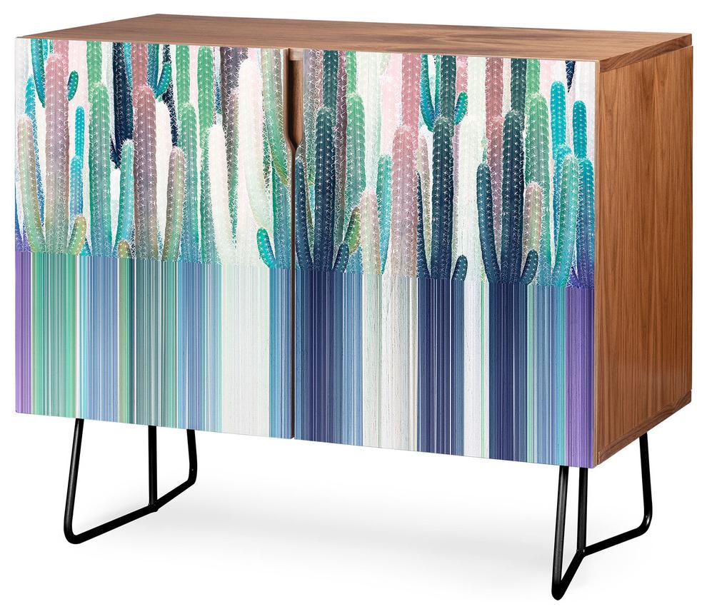 Deny Designs Cacti Stripe Pastel Credenza, Walnut, Black Steel Legs With Beach Stripes Credenzas (View 6 of 20)