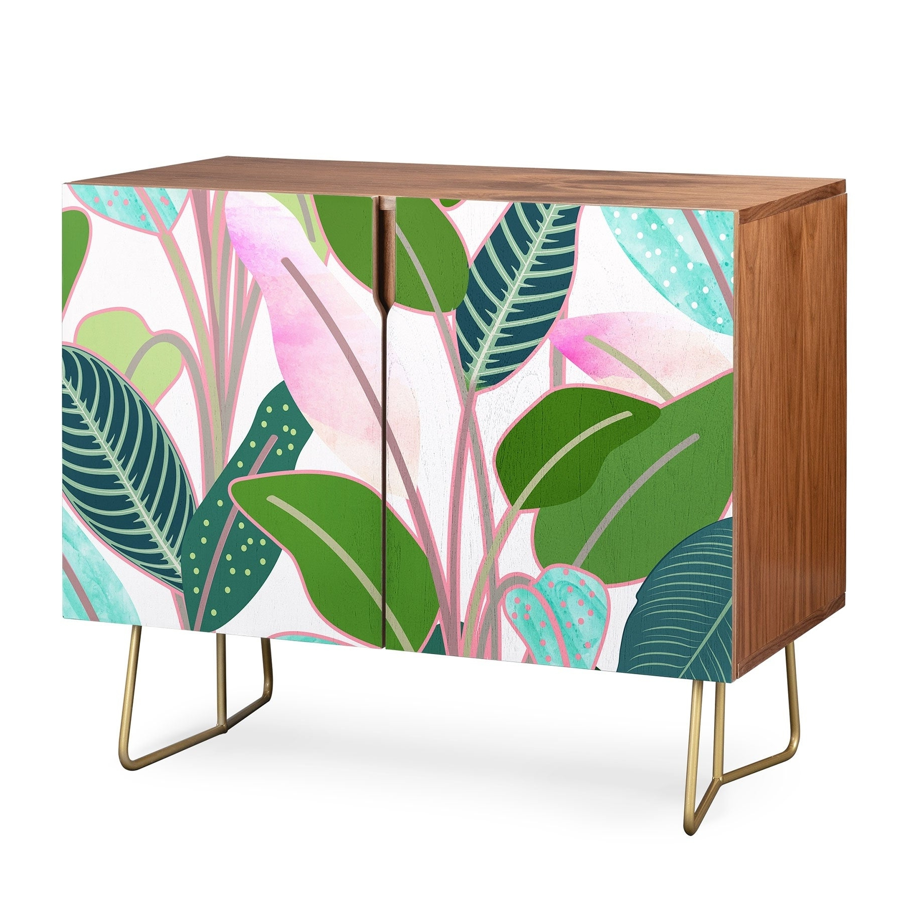 Deny Designs Colorful Leaves Credenza (Birch Or Walnut, 2 Leg Options) Pertaining To Colorful Leaves Credenzas (View 10 of 20)