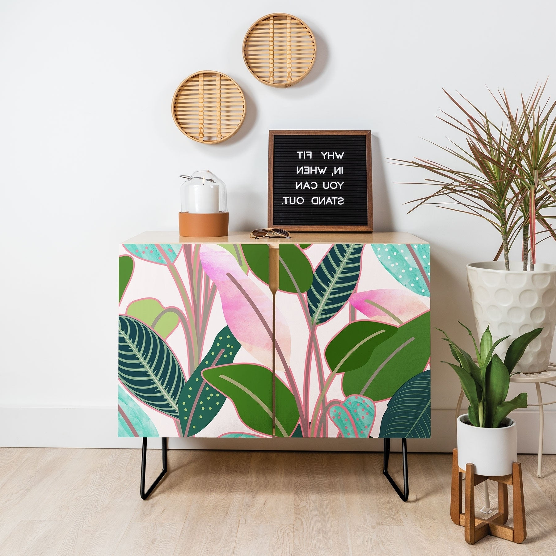 Deny Designs Colorful Leaves Credenza (Birch Or Walnut, 2 Leg Options) Throughout Colorful Leaves Credenzas (View 11 of 20)