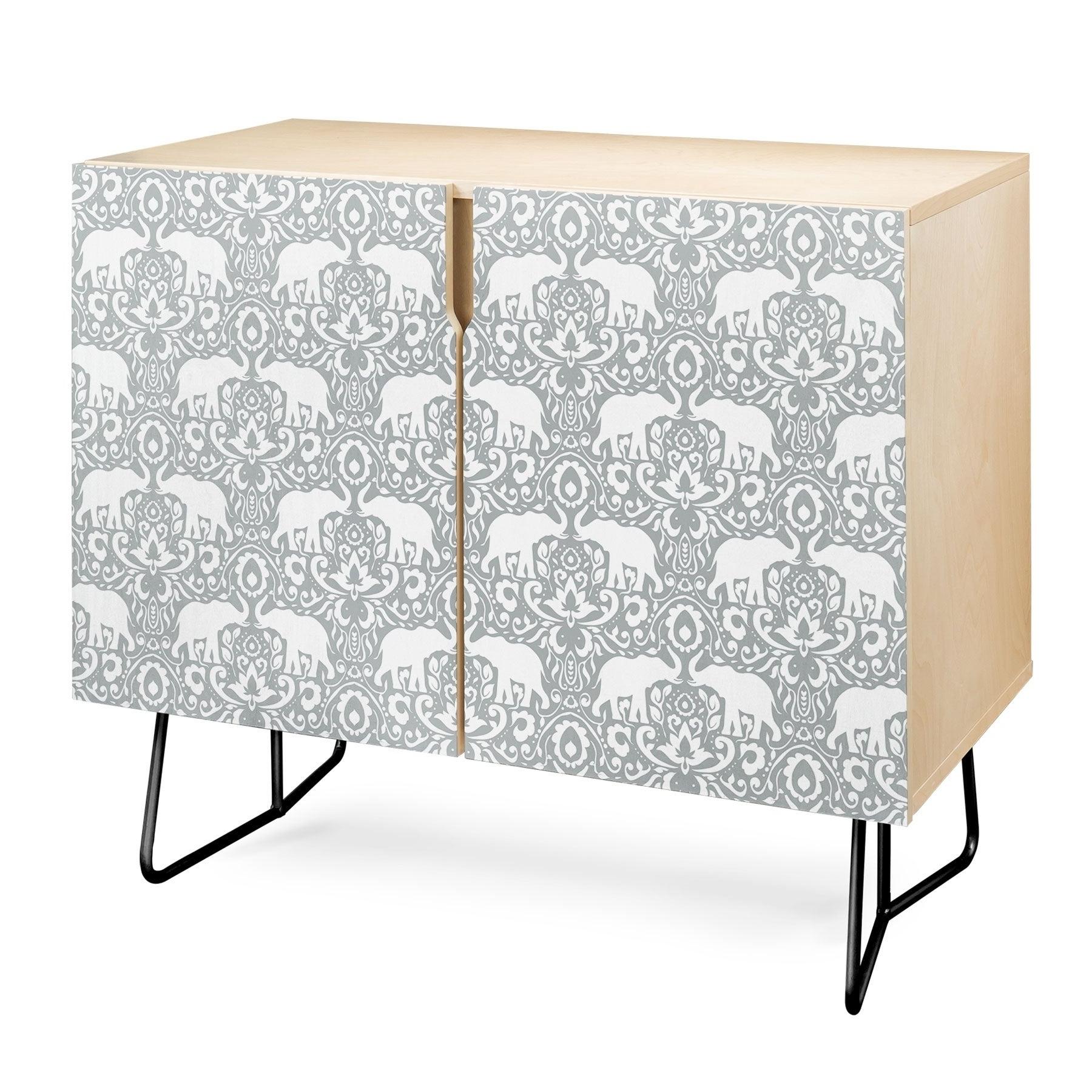 Deny Designs Elephant Damask Paloma Credenza (Birch Or Walnut, 2 Leg  Options) Pertaining To Elephant Damask Paloma Credenzas (View 2 of 20)