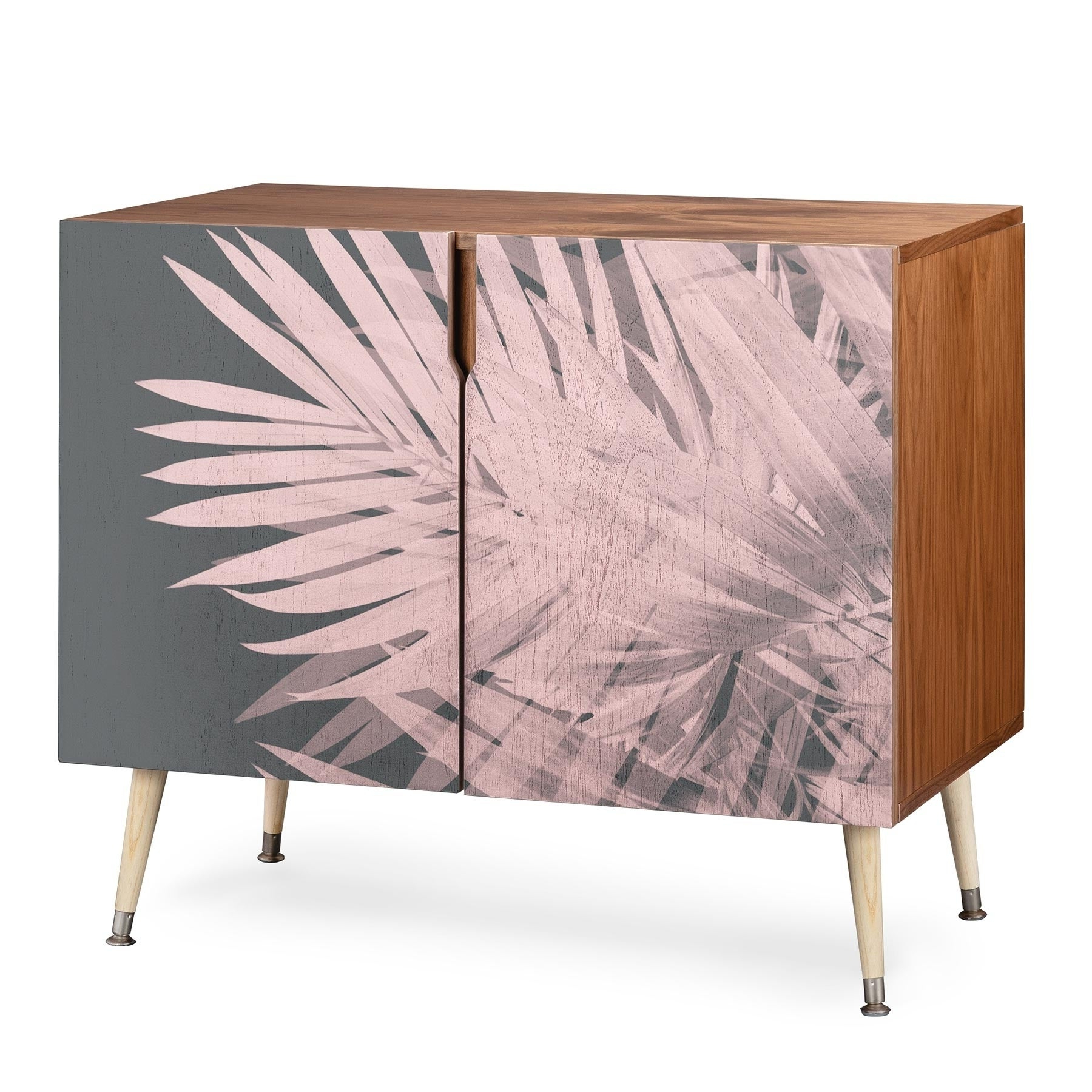 Deny Designs Emanuela Carratoni Blush Palm Leaves Credenza Pertaining To Copper Leaf Wood Credenzas (View 7 of 20)