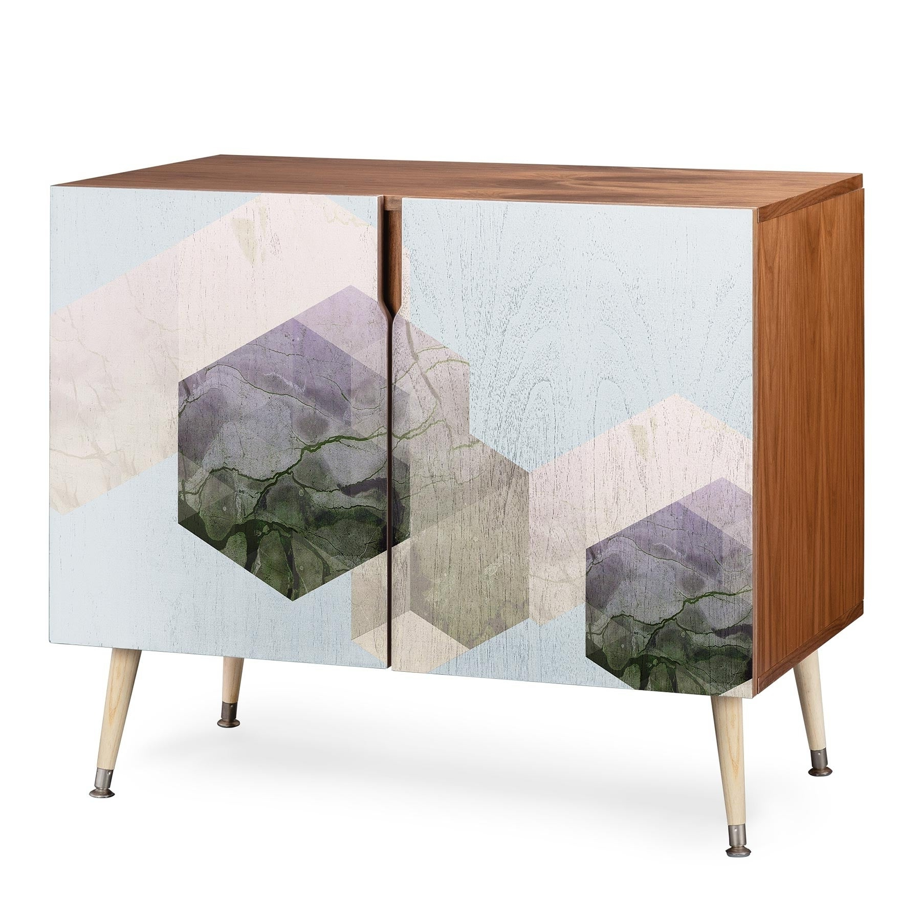 Deny Designs Emanuela Wood Geometric Patterned Credenza Throughout Wooden Deconstruction Credenzas (View 2 of 20)