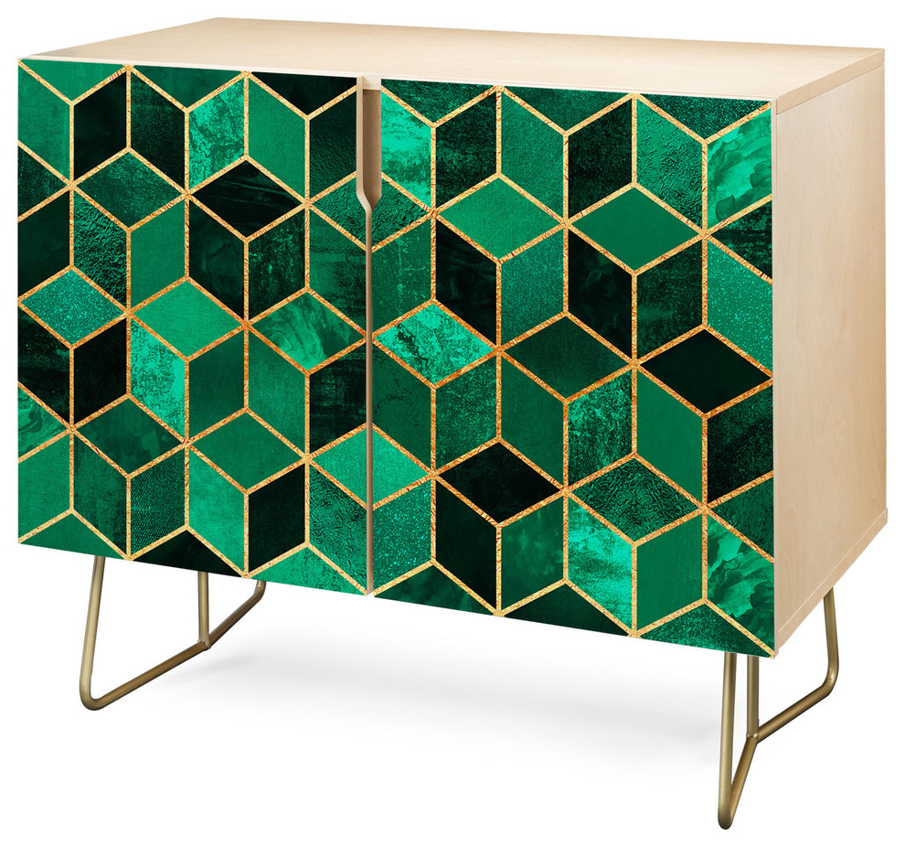 Deny Designs Emerald Cubes Credenza, Birch, Gold Steel Legs With Strokes And Waves Credenzas (View 7 of 20)