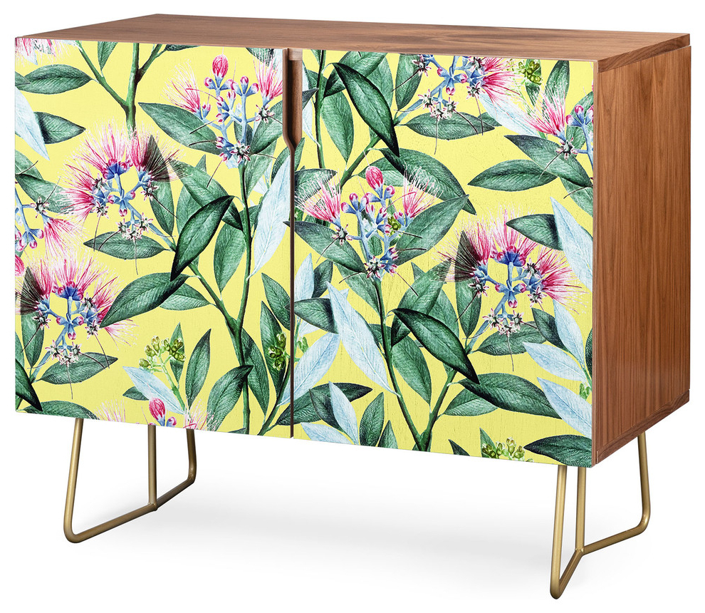 Deny Designs Floral Cure Two Credenza, Walnut, Gold Steel Legs With Regard To Floral Blush Yellow Credenzas (View 11 of 20)