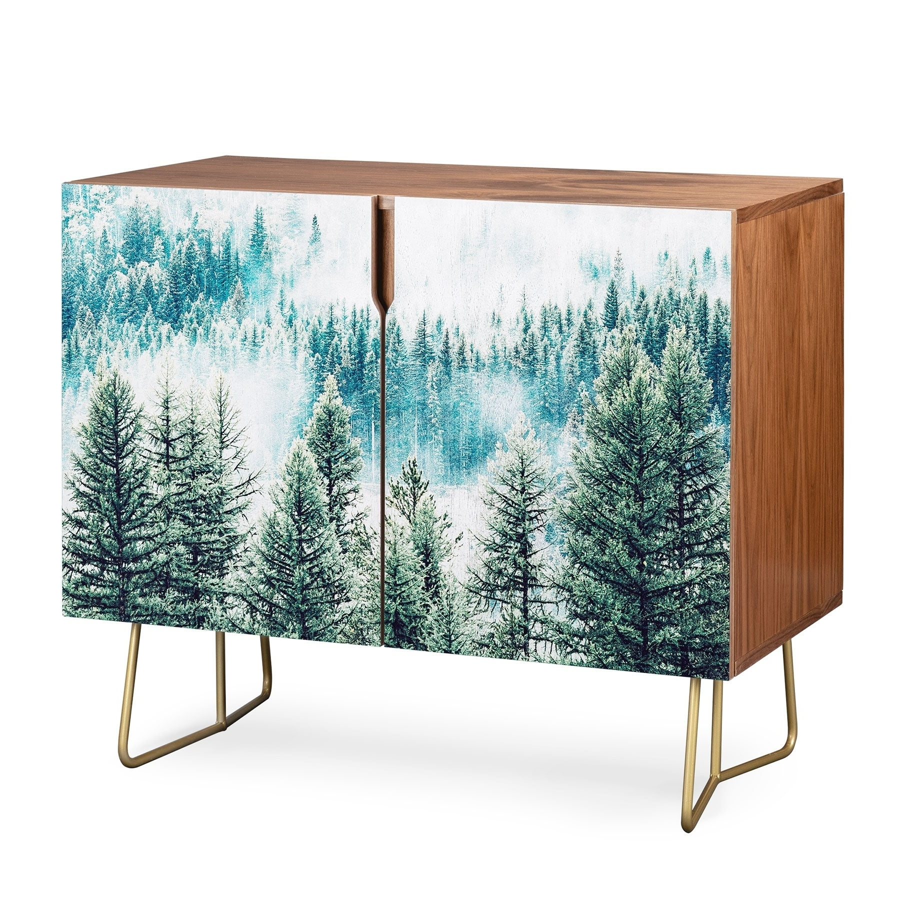 Deny Designs Forest Fog Credenza (birch Or Walnut, 2 Leg Options) Intended For Oenomel Credenzas (View 11 of 20)