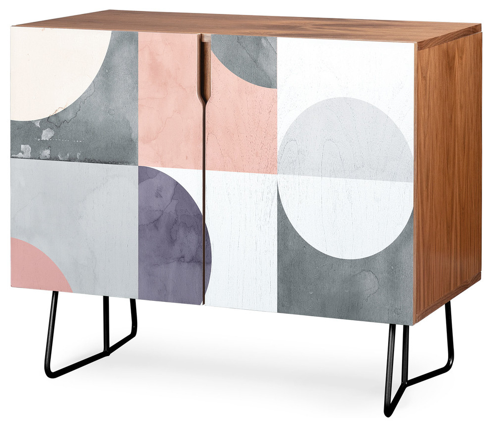 Deny Designs Geometric Moontime Credenza, Walnut, Black Steel Legs With Botanical Harmony Credenzas (View 8 of 20)