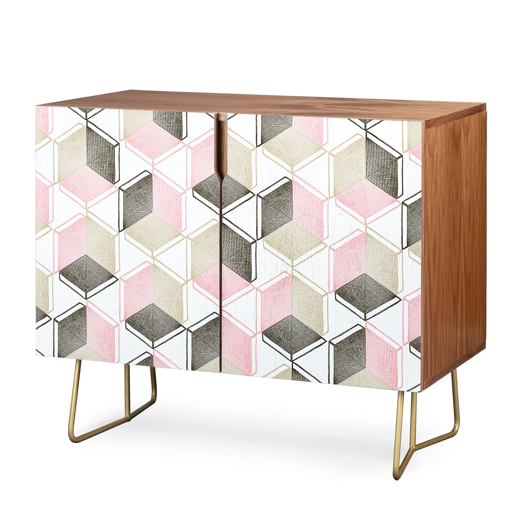 Deny Designs Geometric Shapes Credenza (Birch Or Walnut, 2 Leg Options) In Geometric Shapes Credenzas (View 6 of 20)