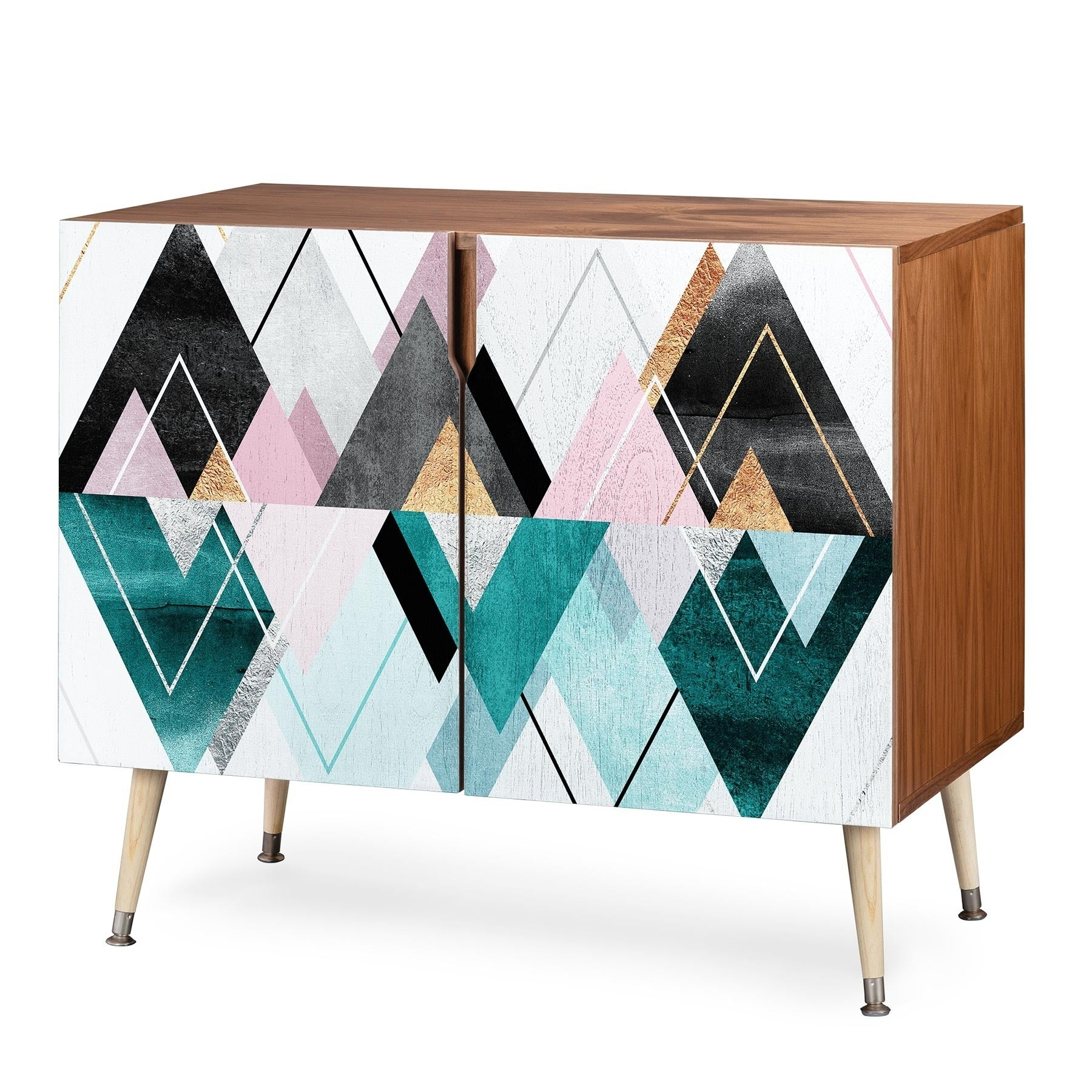 Deny Designs Geometric Triangles Credenza (Birch Or Walnut, 3 Leg Options) Within Modele 7 Geometric Credenzas (View 2 of 20)