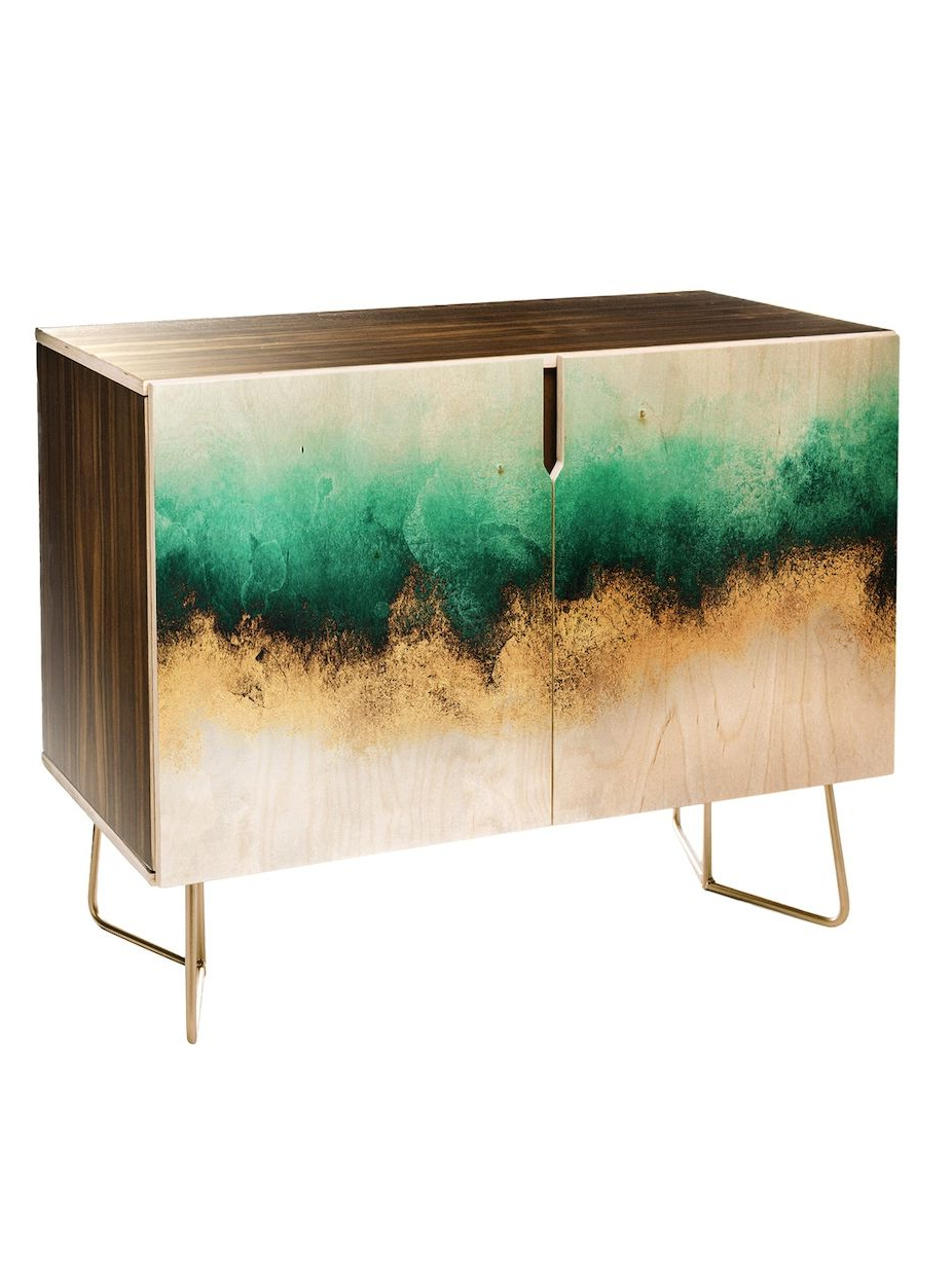 Deny Designs Green And Gold Sky Credenza | Women's Ass With Regard To Turquoise Skies Credenzas (View 2 of 20)