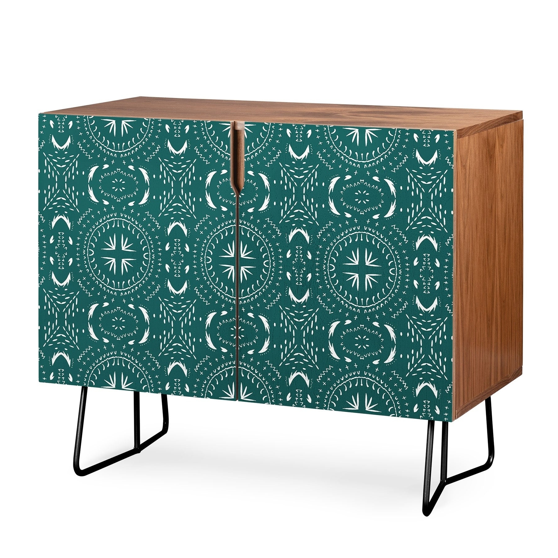 Deny Designs Mandala Tile Marine Credenza (Birch Or Walnut, 2 Leg Options) Intended For Carson Carrington Bogard Crane Credenzas (View 17 of 20)