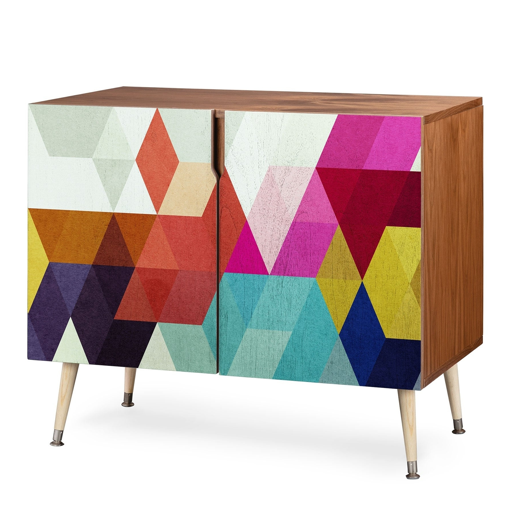 Deny Designs Modele 7 Geometric Credenza (Birch Or Walnut, 3 Leg Options) In Multi Colored Geometric Shapes Credenzas (View 3 of 20)
