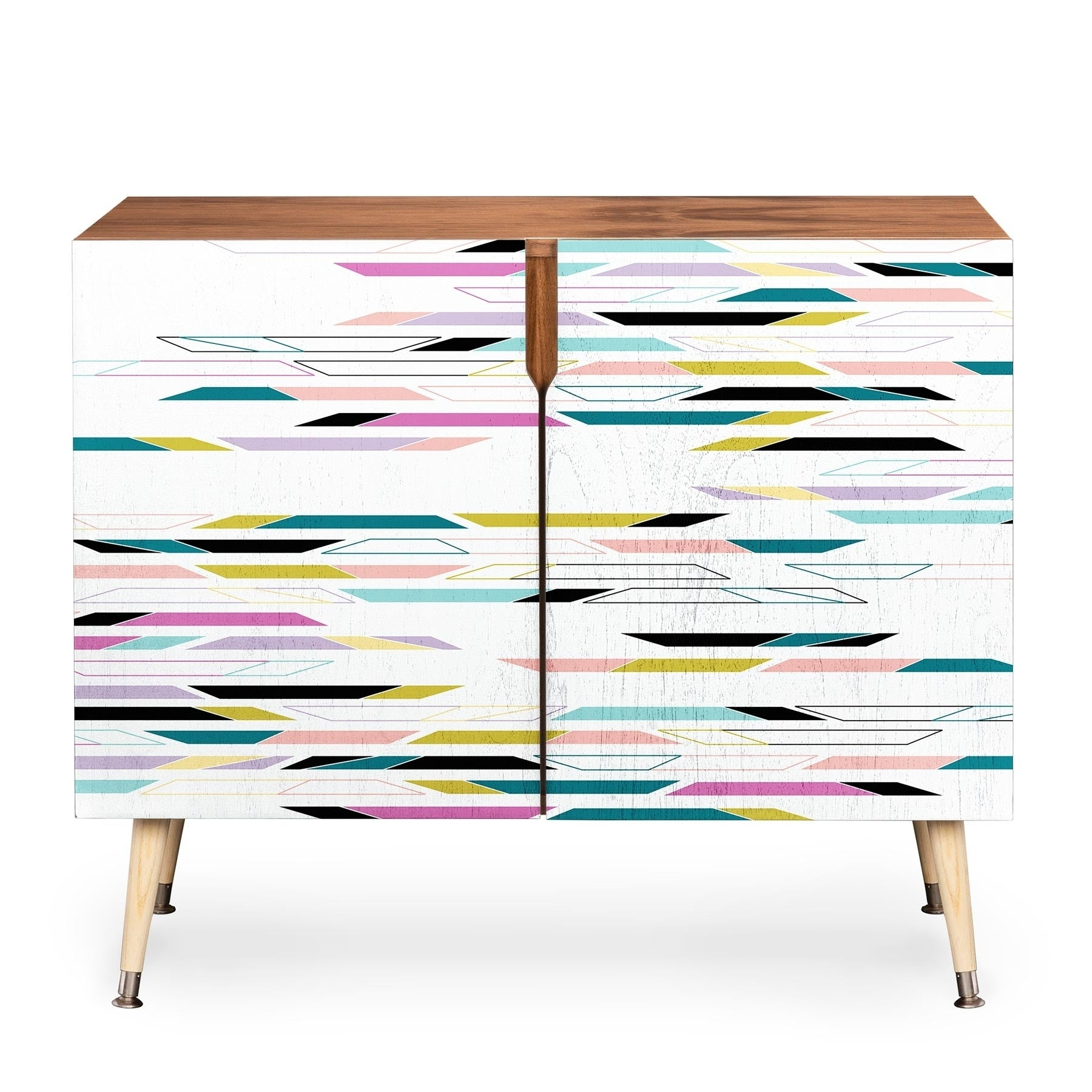 Deny Designs Multi Colored Geometric Shapes Credenza (Birch Or Walnut, 3  Leg Options) For Multi Colored Geometric Shapes Credenzas (View 4 of 20)