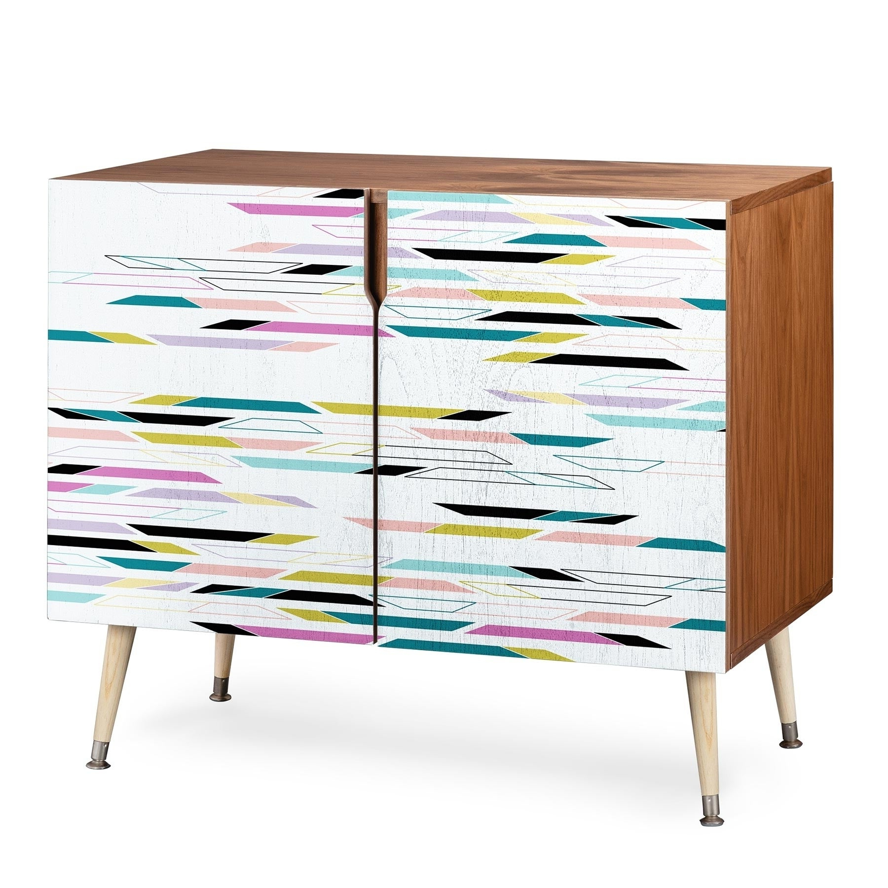 Deny Designs Multi Colored Geometric Shapes Credenza (Birch Or Walnut, 3 Leg Options) Regarding Geometric Shapes Credenzas (View 8 of 20)