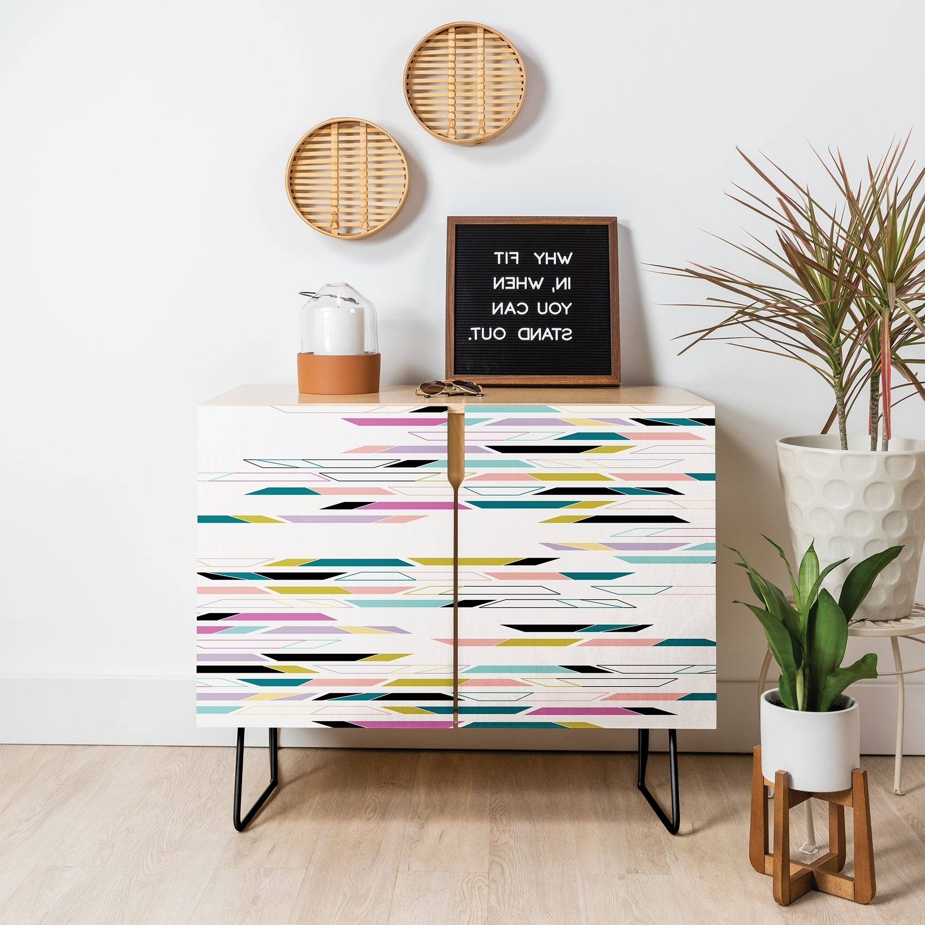Deny Designs Multi Colored Geometric Shapes Credenza (Birch Or Walnut, 3  Leg Options) With Multi Colored Geometric Shapes Credenzas (View 12 of 20)