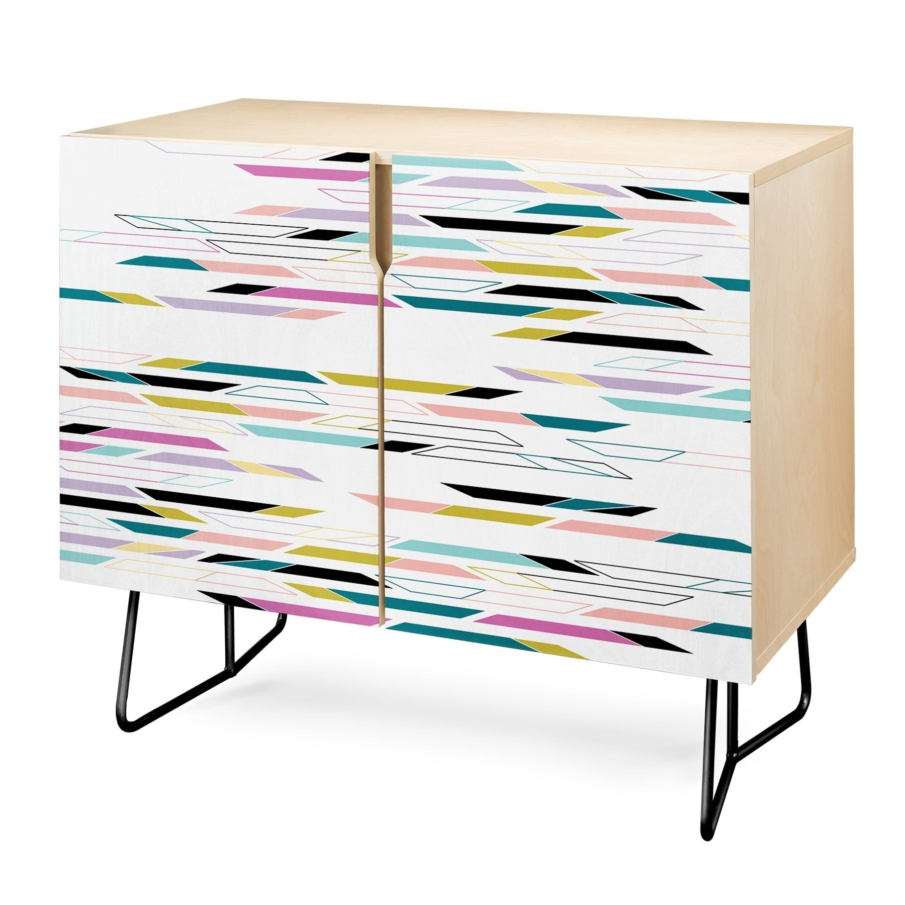 Deny Designs Multi Colored Geometric Shapes Credenza (Birch Or Walnut, 3  Leg Options) With Multi Colored Geometric Shapes Credenzas (View 11 of 20)