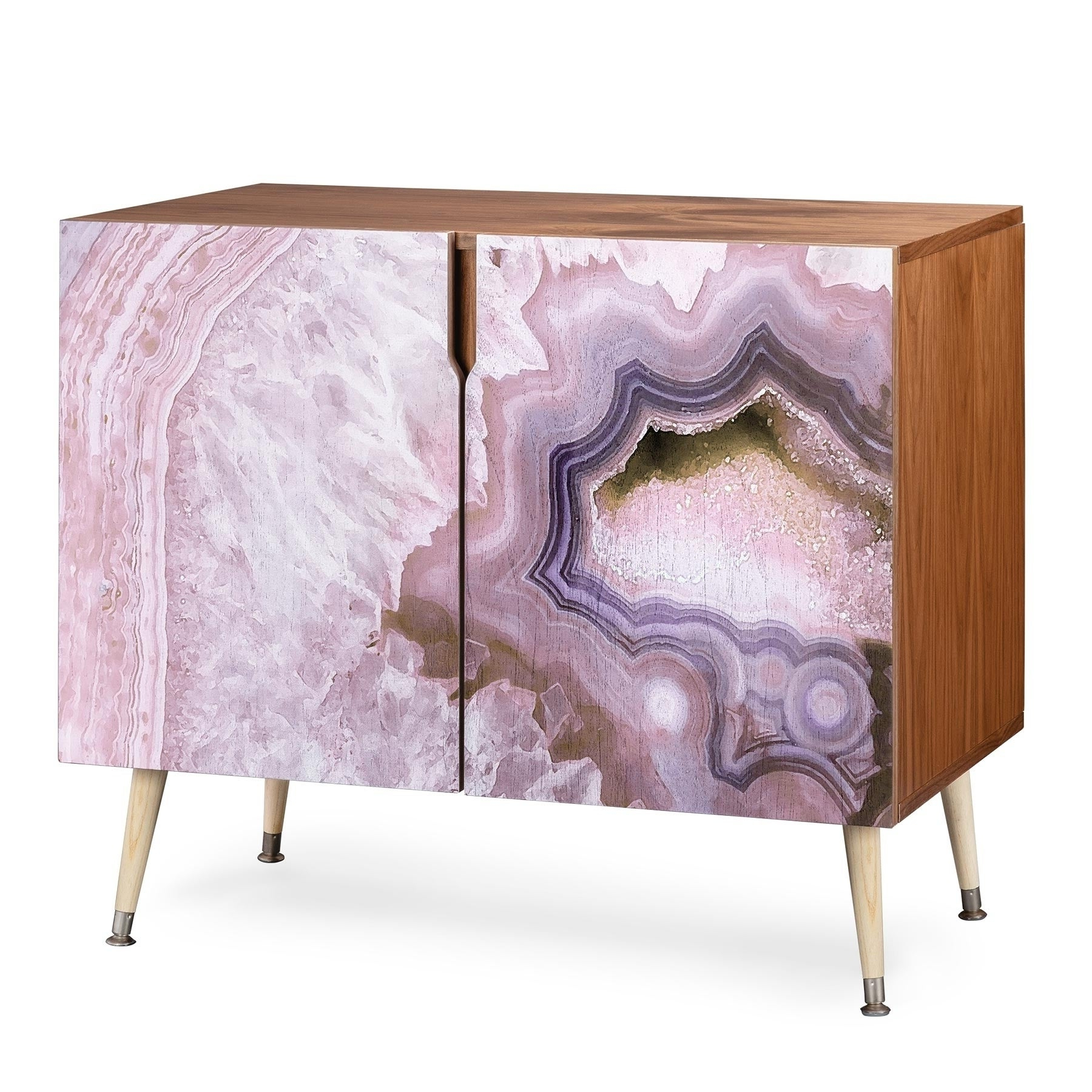 Deny Designs Pale Pink Agate Wood Credenza (3 Leg Options) With Southwest Pink Credenzas (View 4 of 20)
