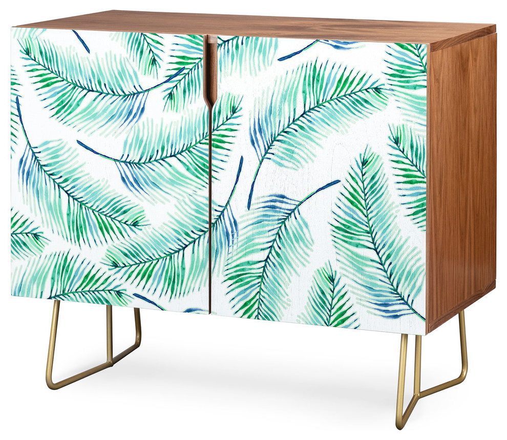 Deny Designs Palms Watercolor Credenza, Walnut, Gold Steel Legs In Emerald Cubes Credenzas (View 7 of 20)
