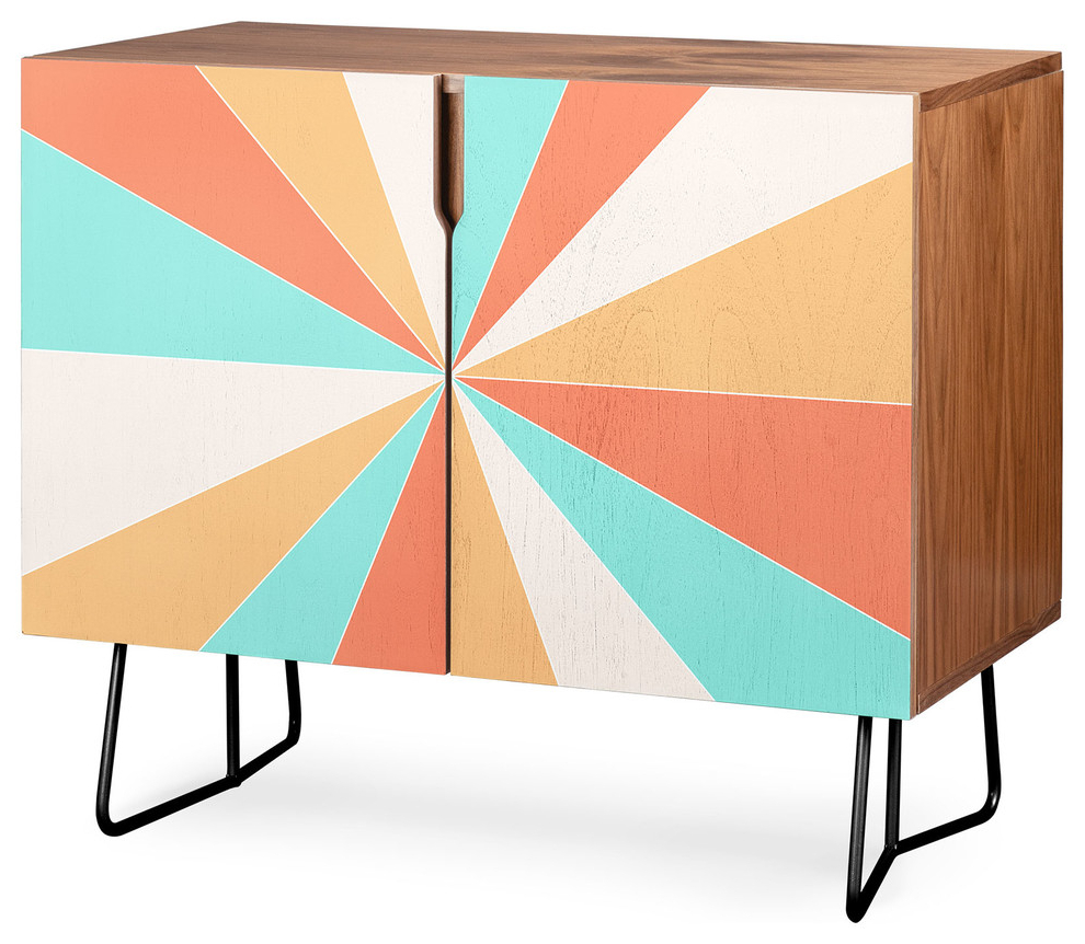 Deny Designs Papaya Burst Credenza, Walnut, Black Steel Legs Within Strokes And Waves Credenzas (View 5 of 20)