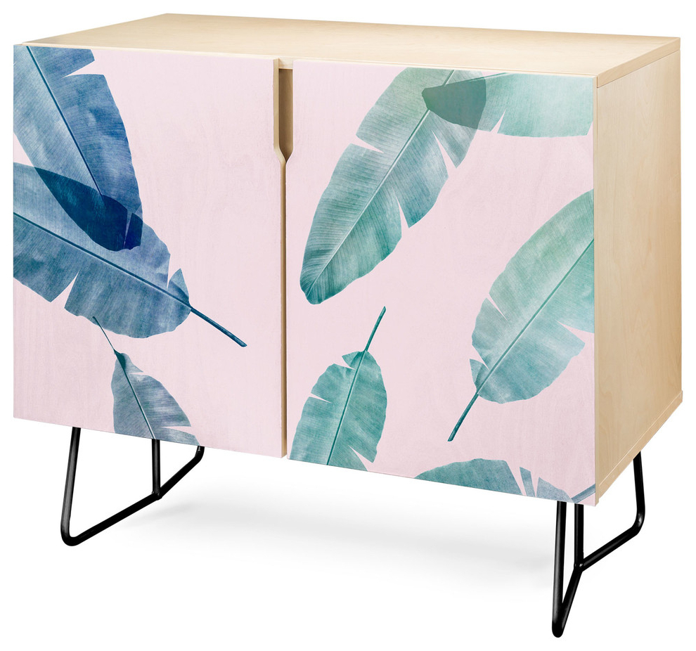 Deny Designs Peaches N Cream Credenza, Birch, Black Steel Legs With Emerald Cubes Credenzas (View 10 of 20)