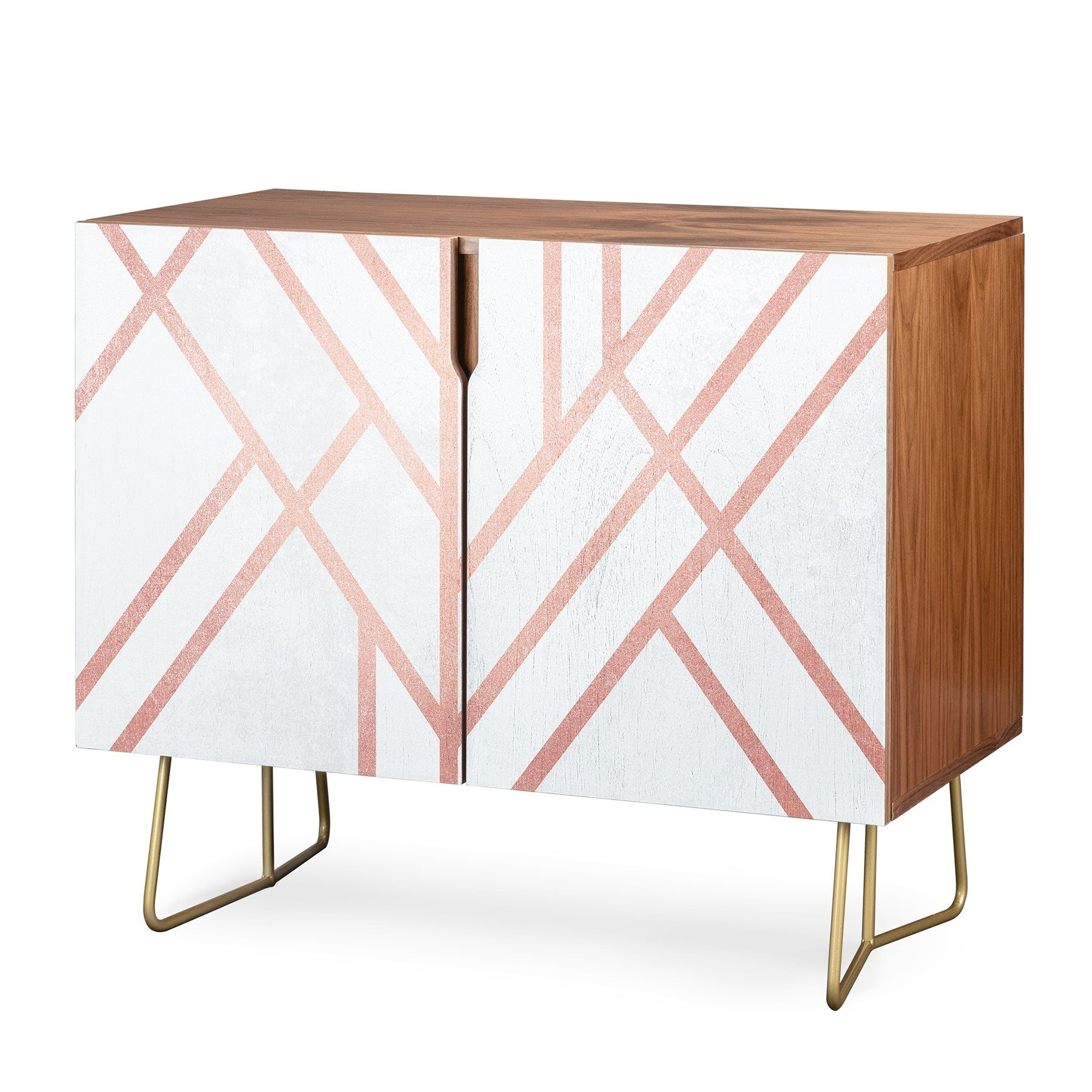 Deny Designs Pink And White Geometric Credenza (birch Or Walnut, 3 Leg Options) For Pink And White Geometric Buffets (View 8 of 20)