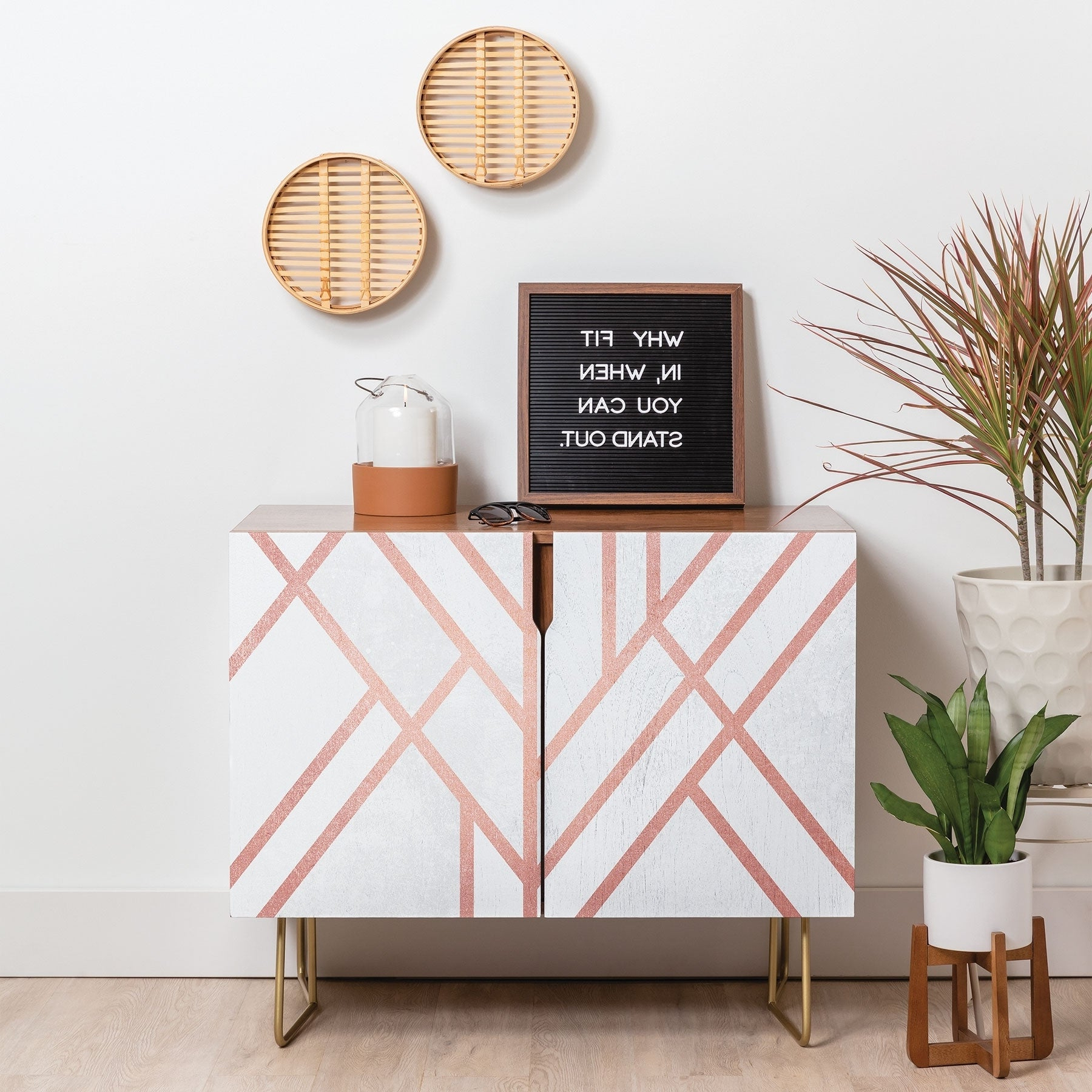 Deny Designs Pink And White Geometric Credenza (Birch Or Walnut, 3 Leg  Options) Inside Line Geo Credenzas (View 6 of 20)