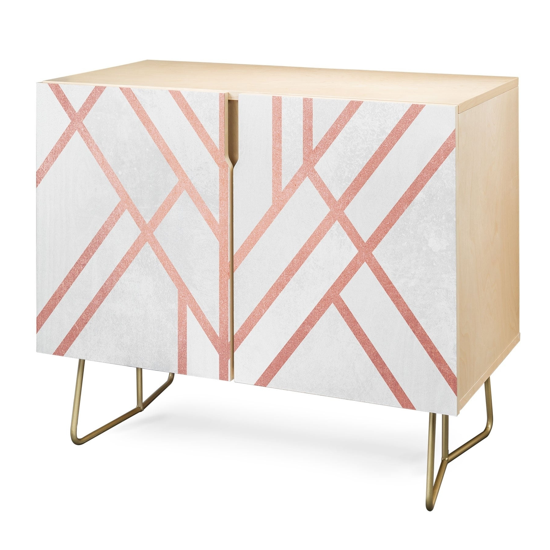 Deny Designs Pink And White Geometric Credenza (birch Or Walnut, 3 Leg Options) Intended For Pink And White Geometric Buffets (View 2 of 20)