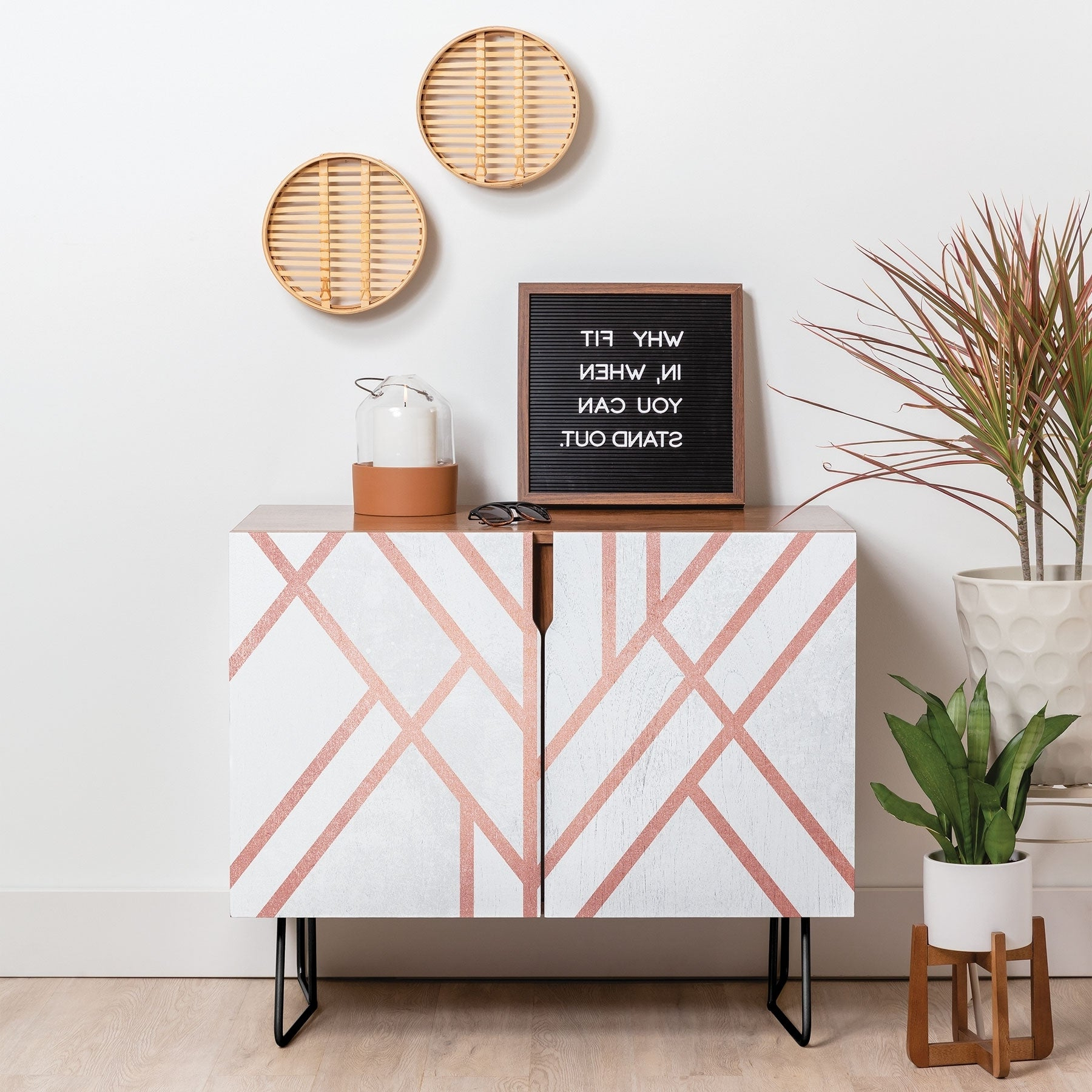 Deny Designs Pink And White Geometric Credenza (birch Or Walnut, 3 Leg Options) With Pink And White Geometric Buffets (View 3 of 20)