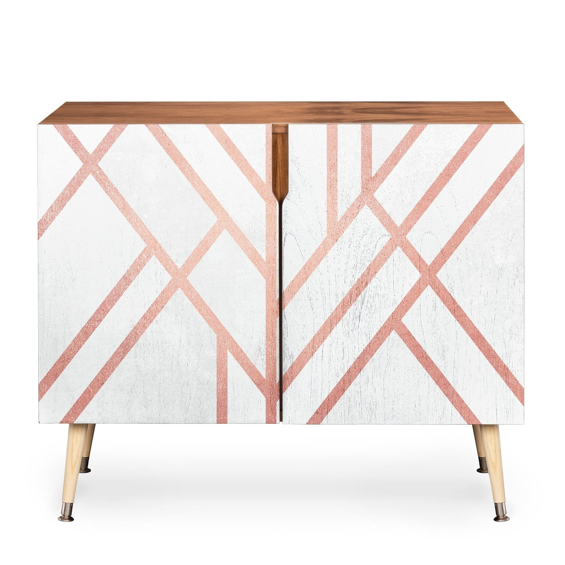 Deny Designs Pink And White Geometric Credenza (Birch Or Walnut, 3 Leg  Options) With Regard To Line Geo Credenzas (View 7 of 20)