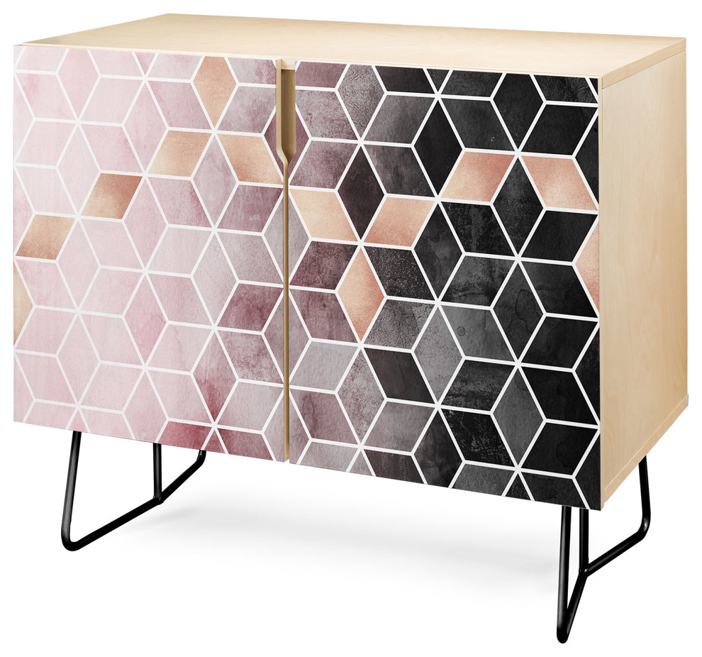 Deny Designs Pink Grey Gradient Cubes Credenza, Birch, Black Steel Legs Inside Emerald Cubes Credenzas (View 2 of 20)