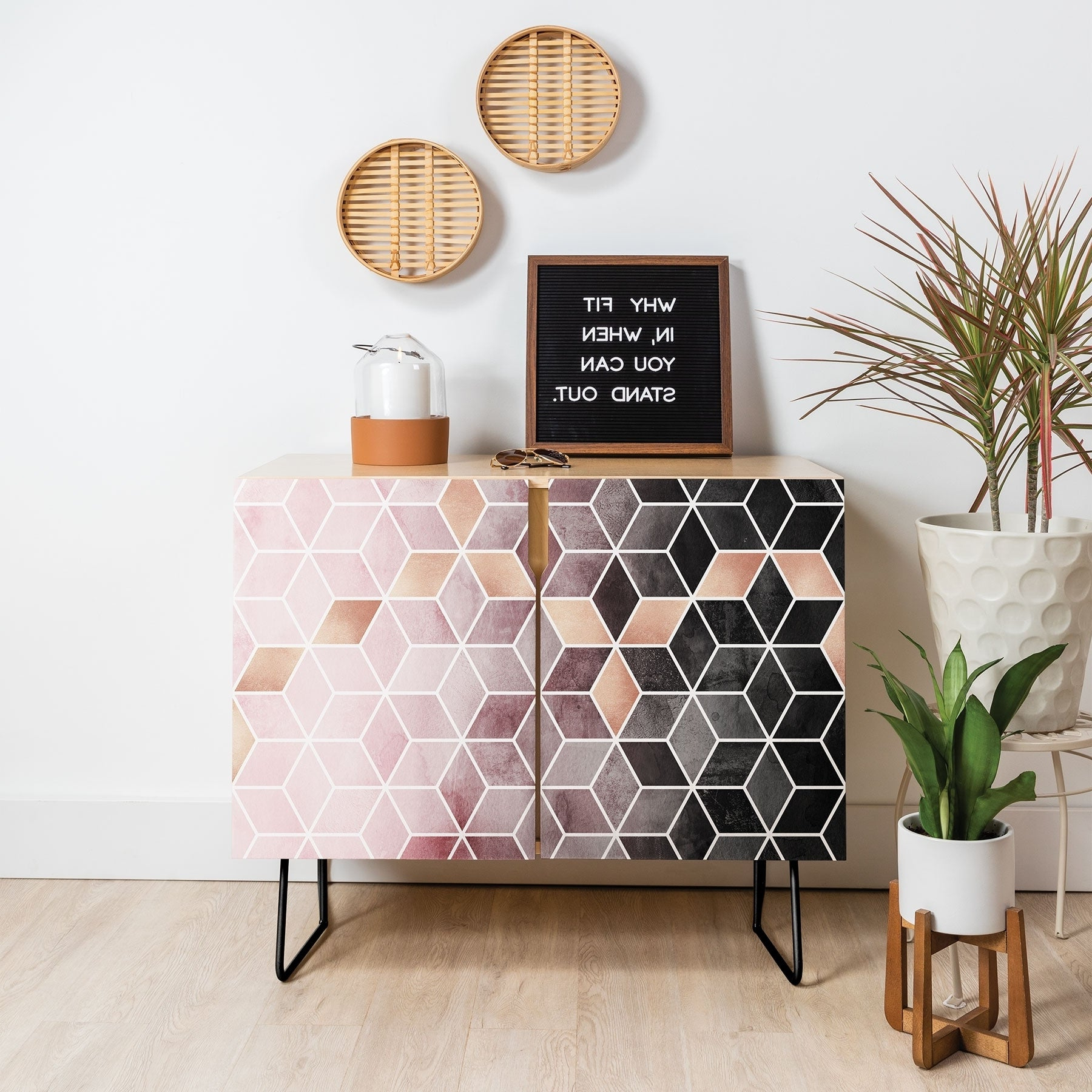 Deny Designs Pink Grey Gradient Cubes Credenza (Birch Or Walnut, 2 Leg  Options) For Emerald Cubes Credenzas (View 9 of 20)