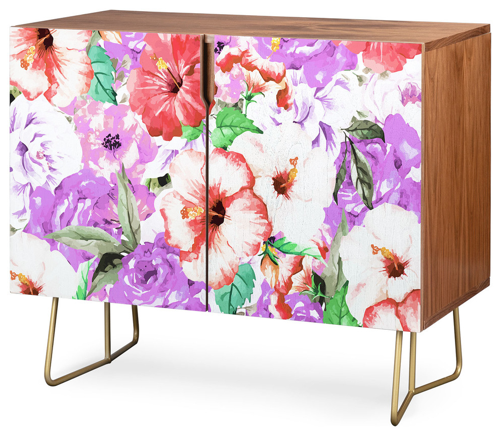 Deny Designs Purple Floral Credenza, Walnut, Gold Steel Legs Intended For Floral Blush Yellow Credenzas (View 12 of 20)