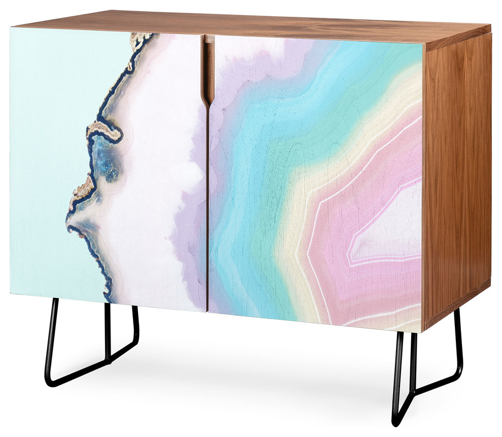 Deny Designs Rainbow Agate Credenza, Walnut, Black Steel Legs In Festival Eclipse Credenzas (View 6 of 20)