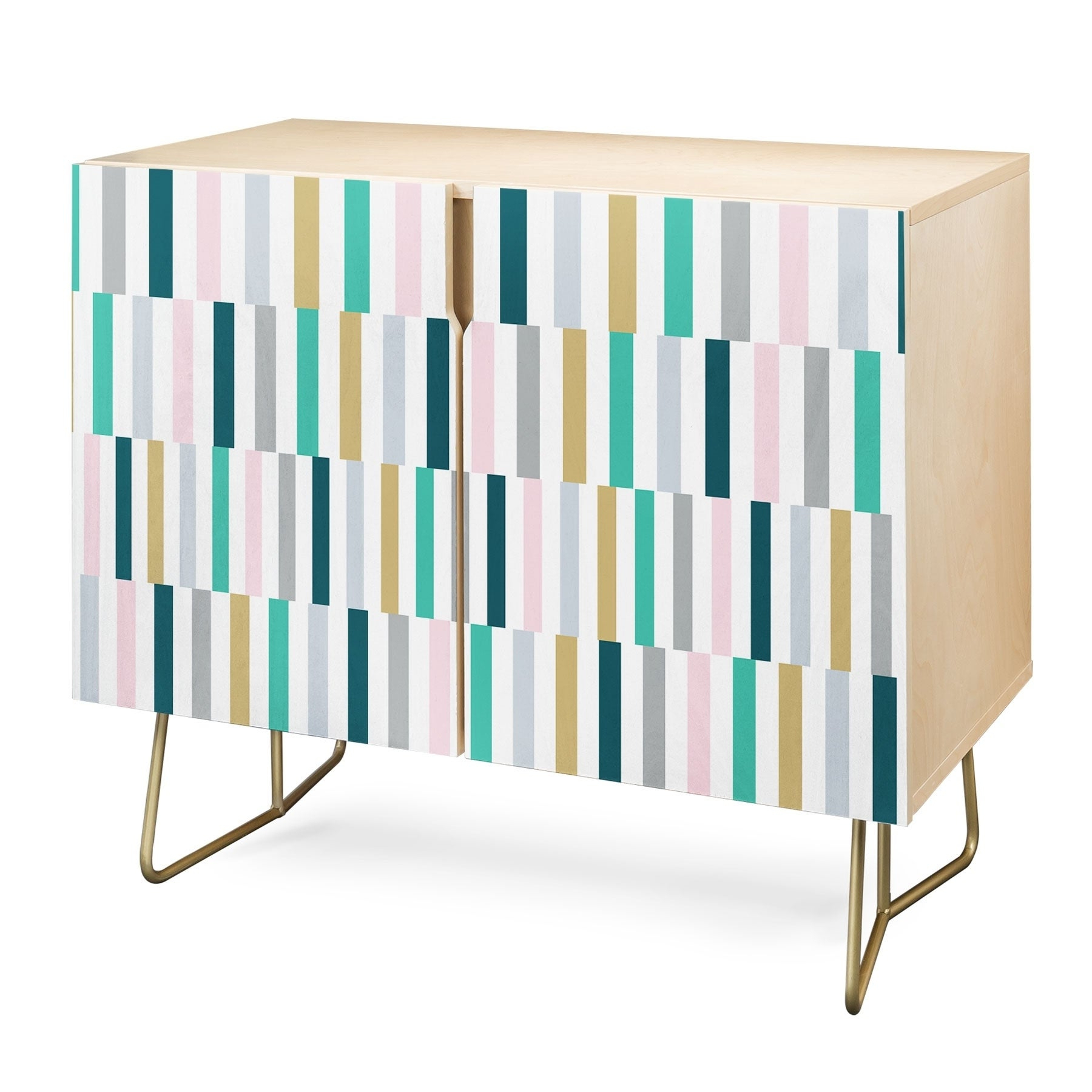 Deny Designs Scandi Stripes Credenza (Birch Or Walnut, 2 Leg Options) With Festival Eclipse Credenzas (View 11 of 20)