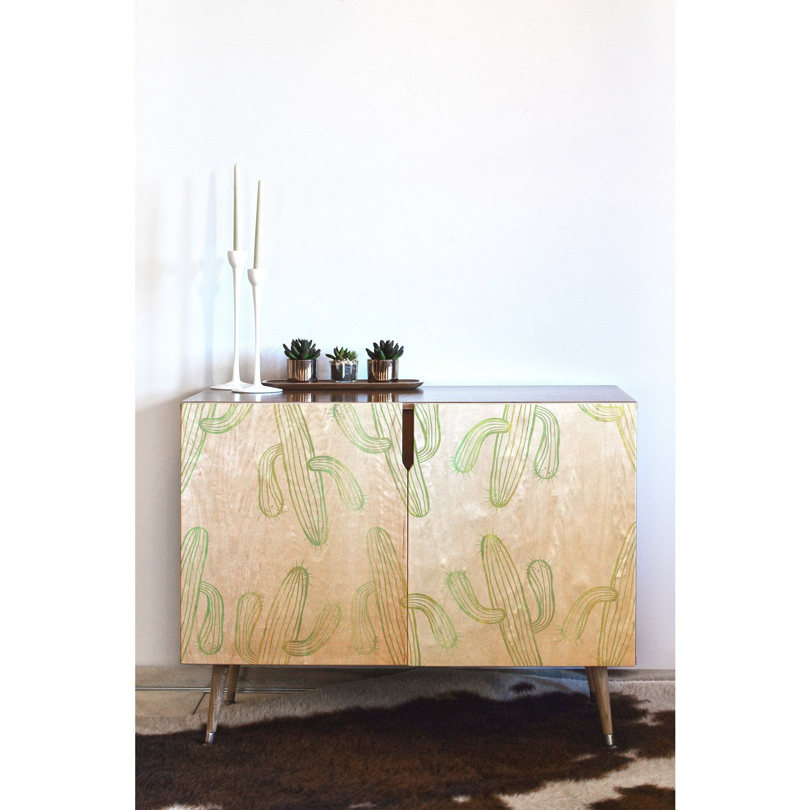 Deny Designs Sophia Buddenhagen Cactus Party Credenza Throughout Pink And White Geometric Buffets (View 10 of 20)