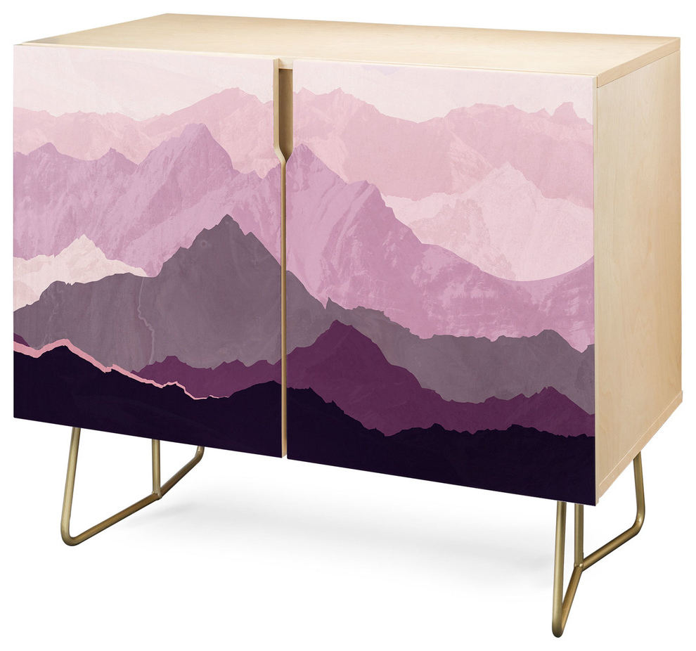 Deny Designs Sugar Plum Credenza, Birch, Gold Steel Legs Pertaining To Bright Angles Credenzas (View 3 of 20)