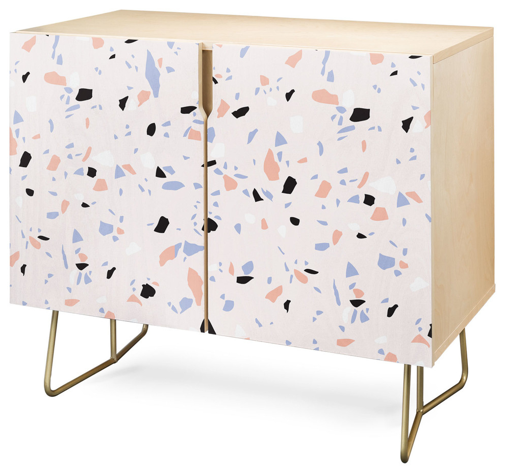 Deny Designs Sweet Terrazzo Texture Credenza, Birch, Gold Steel Legs Inside Mandala Tile Marine Credenzas (View 11 of 20)