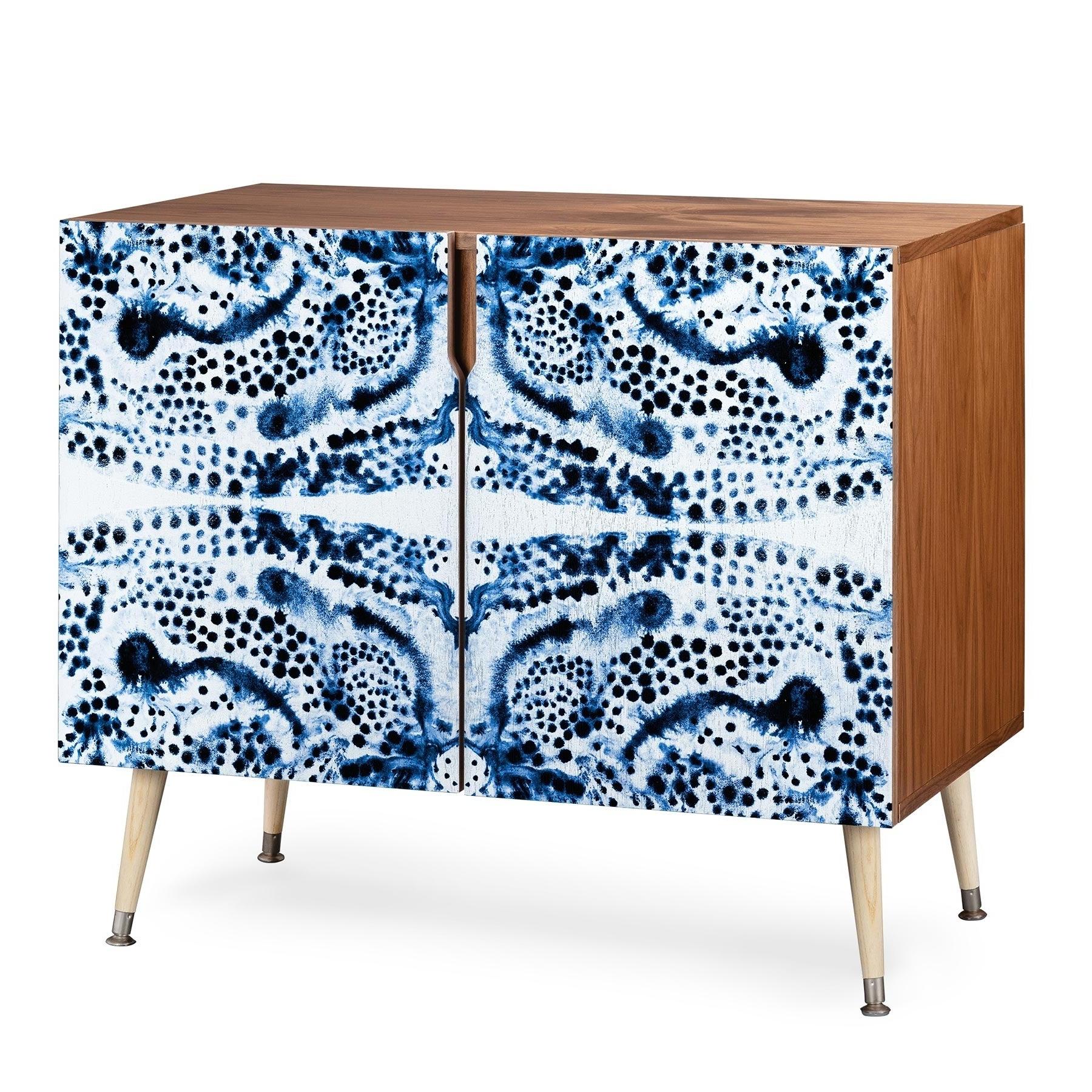 Deny Designs Symmetric Blue Swirl Credenza (birch Or Walnut, 3 Leg Options) Throughout Wooden Deconstruction Credenzas (View 5 of 20)